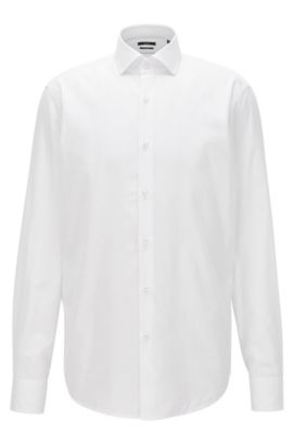 Regular-fit shirt in micro-structure cotton twill, White