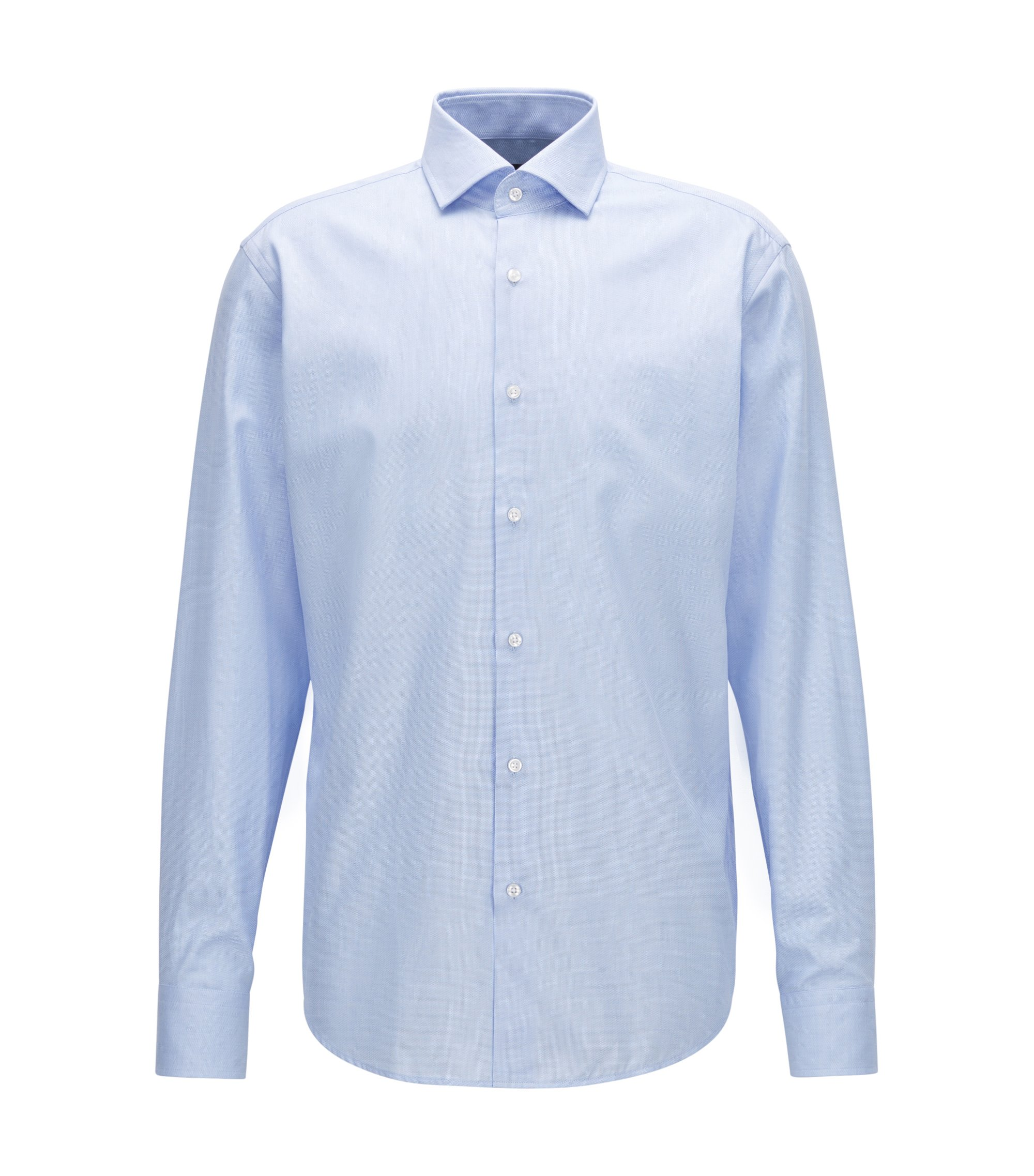 Regular-fit shirt in micro-structure cotton twill, Light Blue