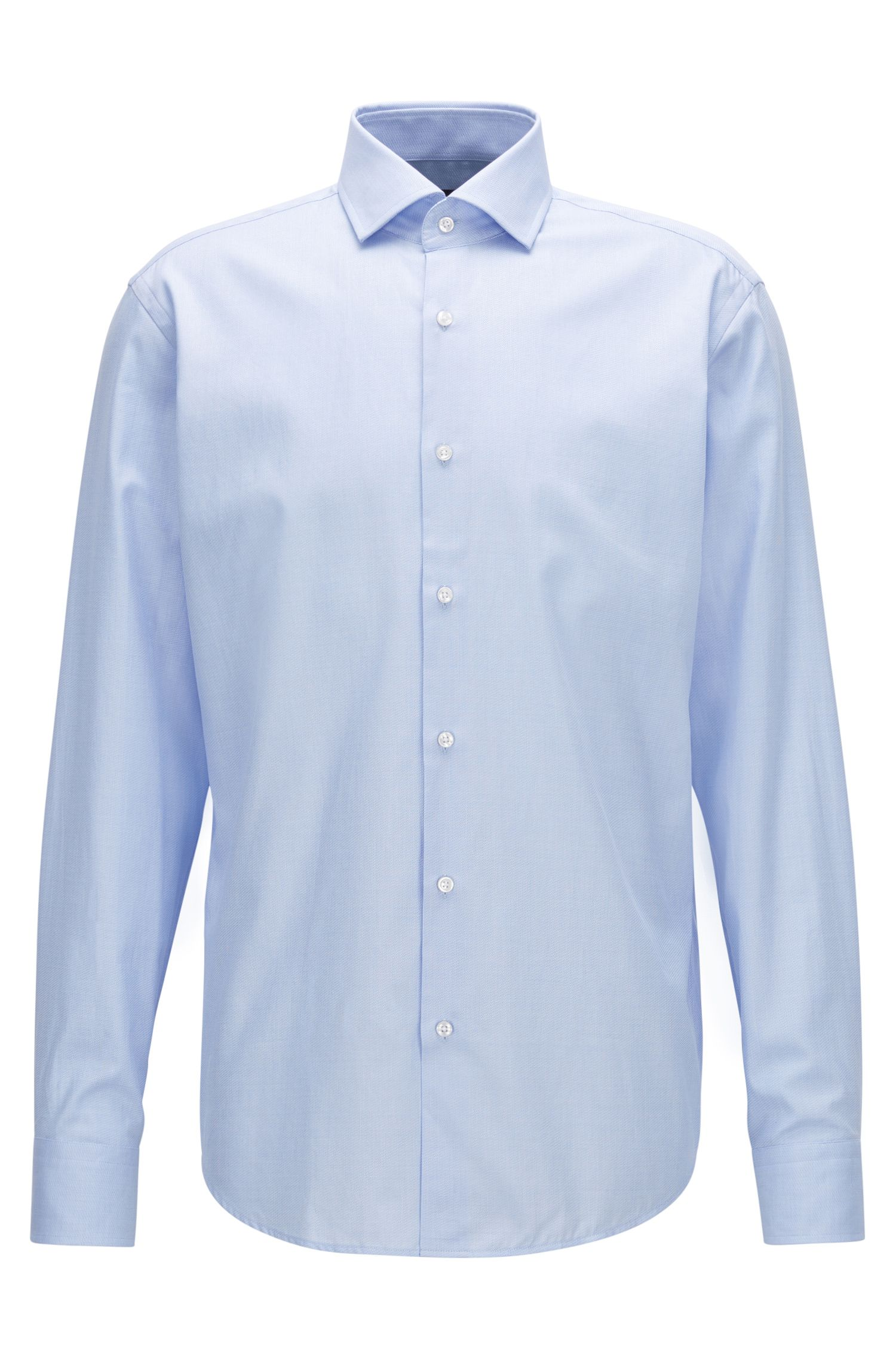 Regular-fit shirt in micro-structure cotton twill