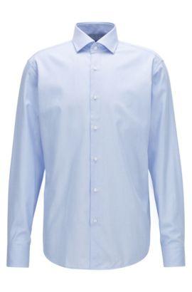 Regular-fit overhemd in een katoentwill met microstructuur, Lichtblauw