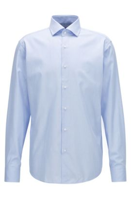 Regular-Fit Hemd aus Baumwoll-Twill mit Mikro-Struktur, Hellblau