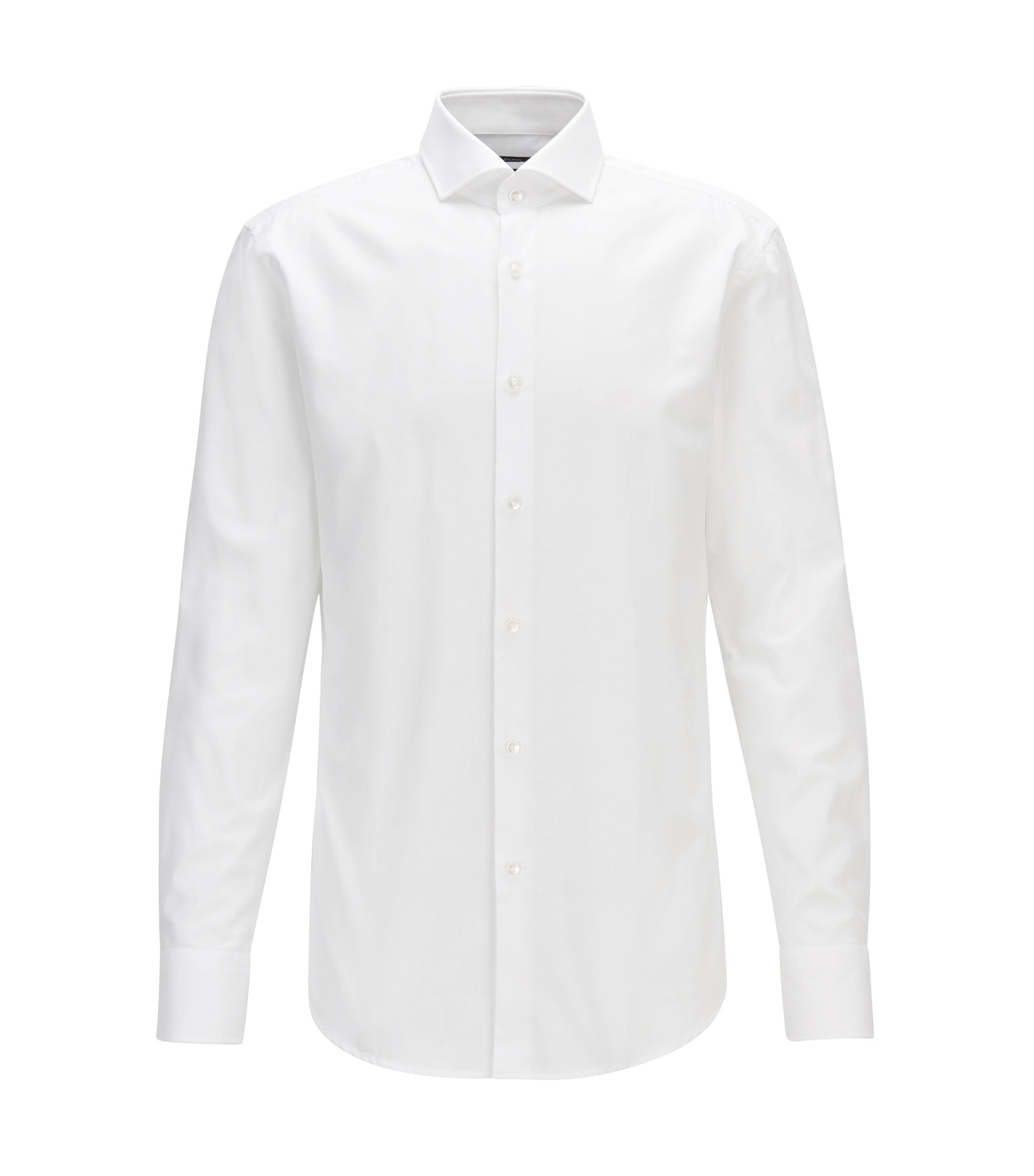 Slim-fit shirt in micro-structured cotton twill, White