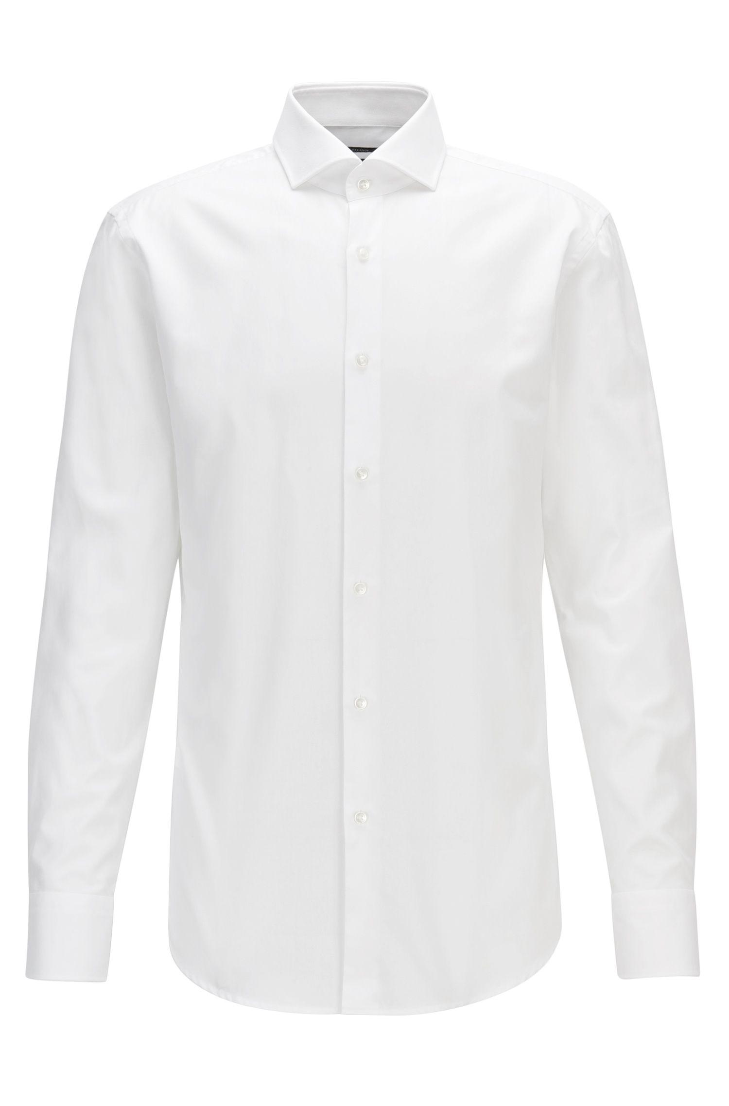 Camisa slim fit de sarga de algodón con microtextura