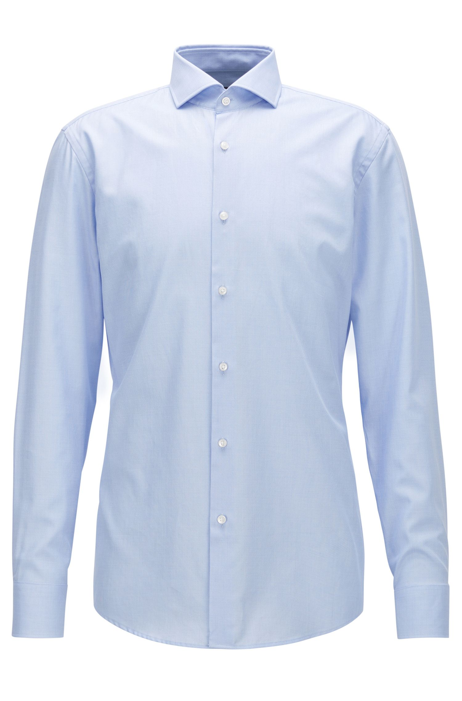 Slim-fit shirt in micro-structured cotton twill