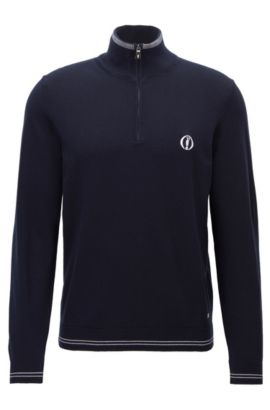 Pull à col zippé de la collection BOSS The Open, Bleu foncé