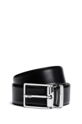 Reversible leather belt with polished pin buckle, Black