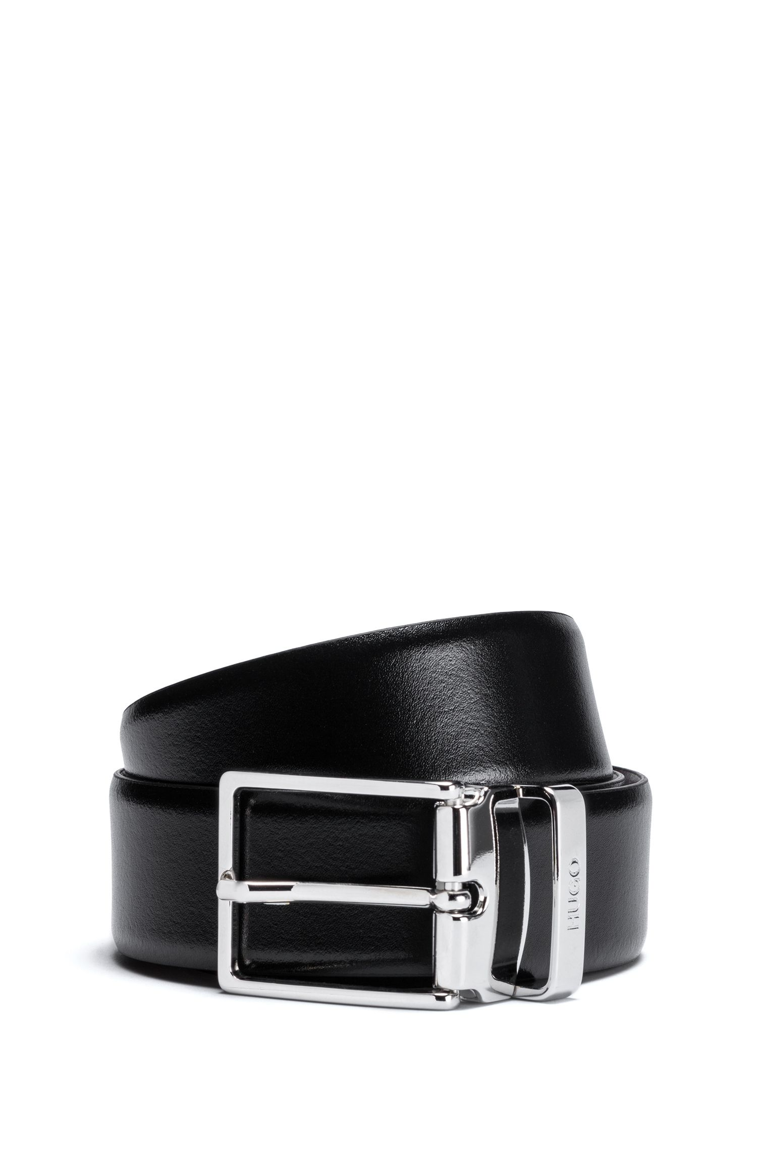 Reversible leather belt with polished pin buckle