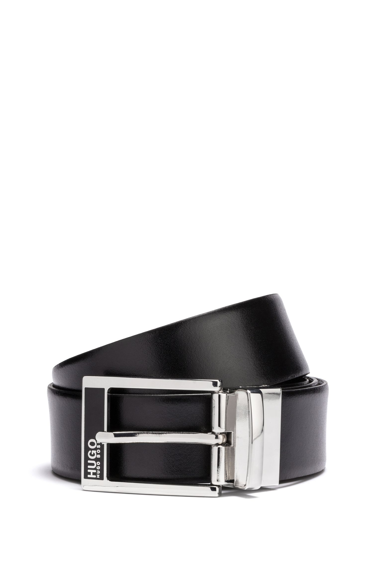 Gift-boxed reversible leather belt, Black
