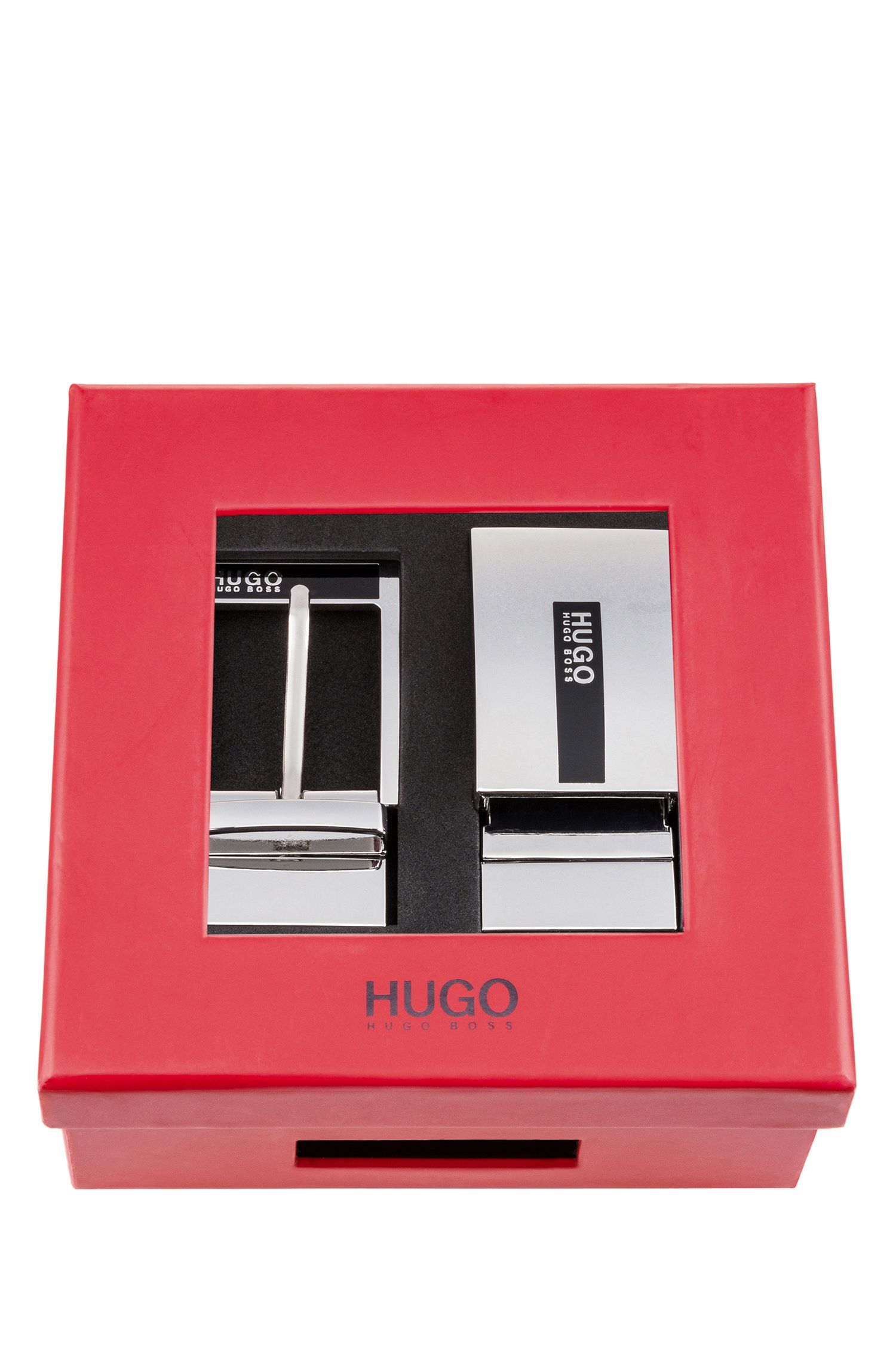 Cinturón reversible de piel en caja de regalo, Negro