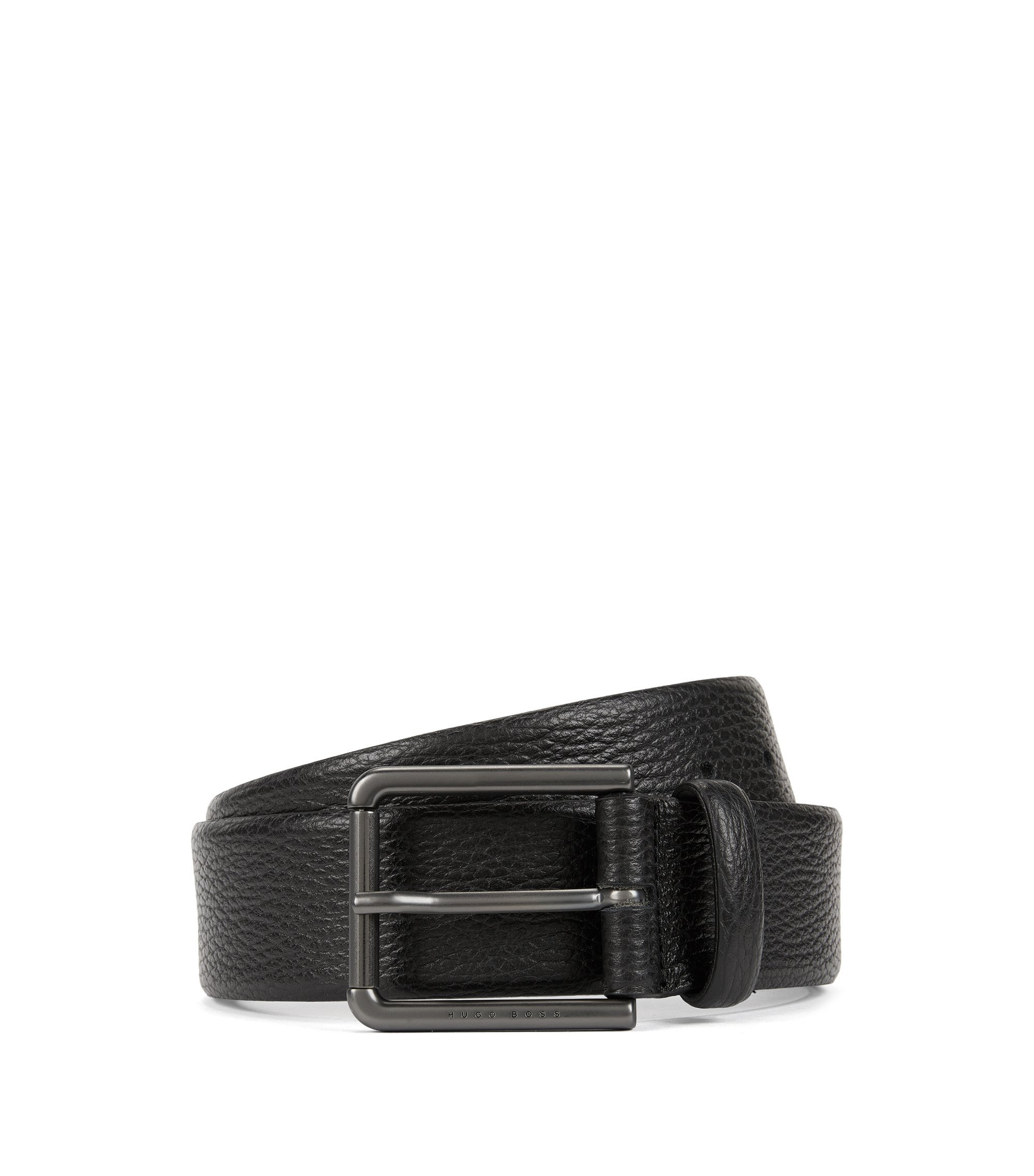 Belt in grained leather, Black