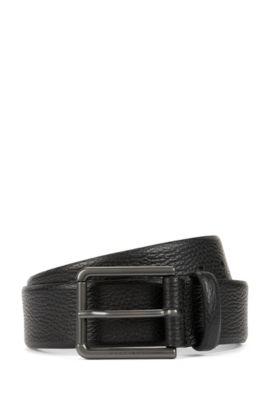 Gürtel aus genarbtem Leder, Schwarz