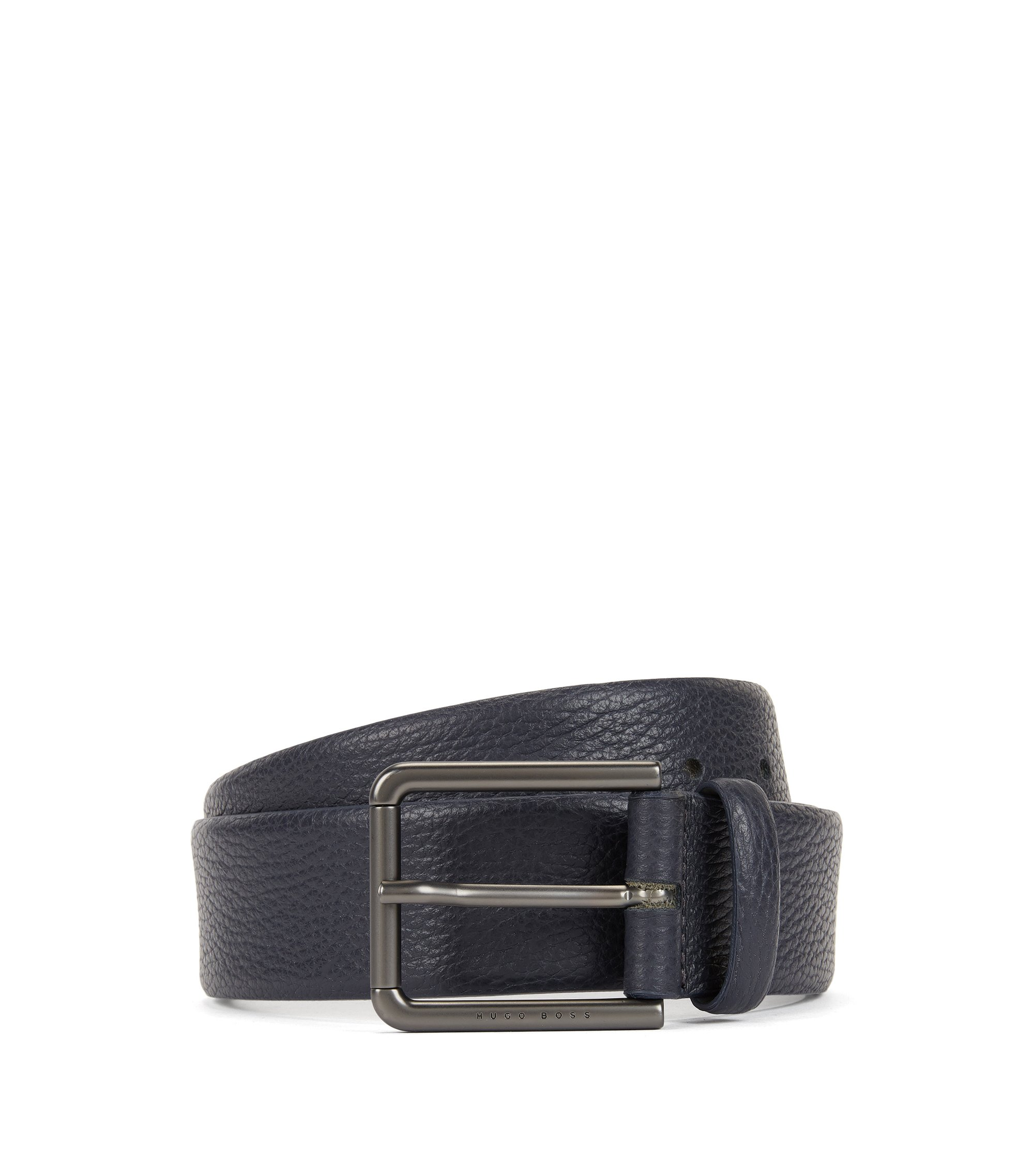 Belt in grained leather, Dark Blue