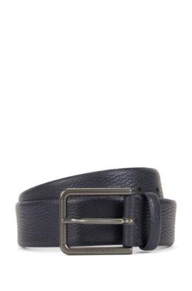 Belt in grained leather, Dark Blue