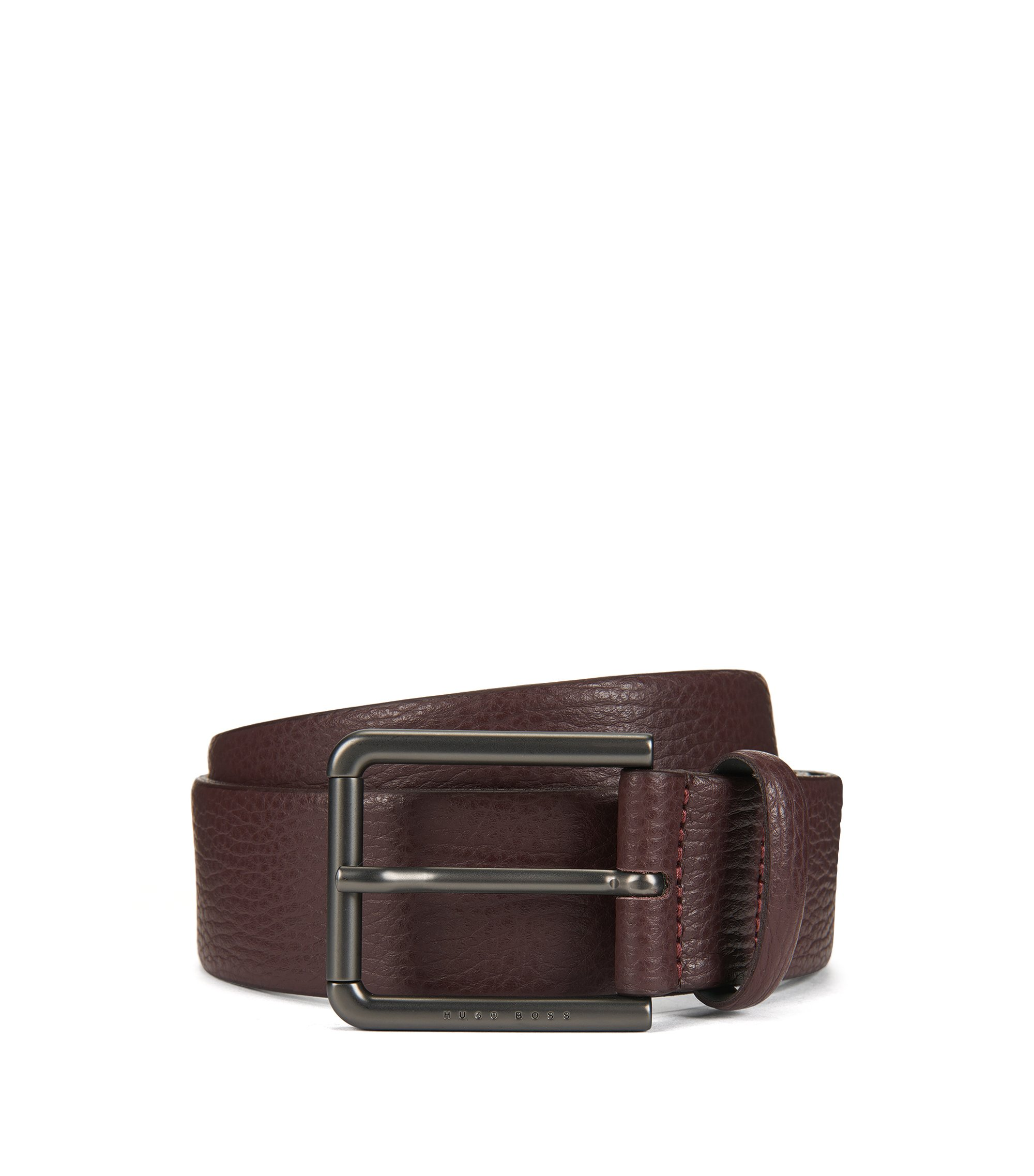 Belt in grained leather, Dark Red