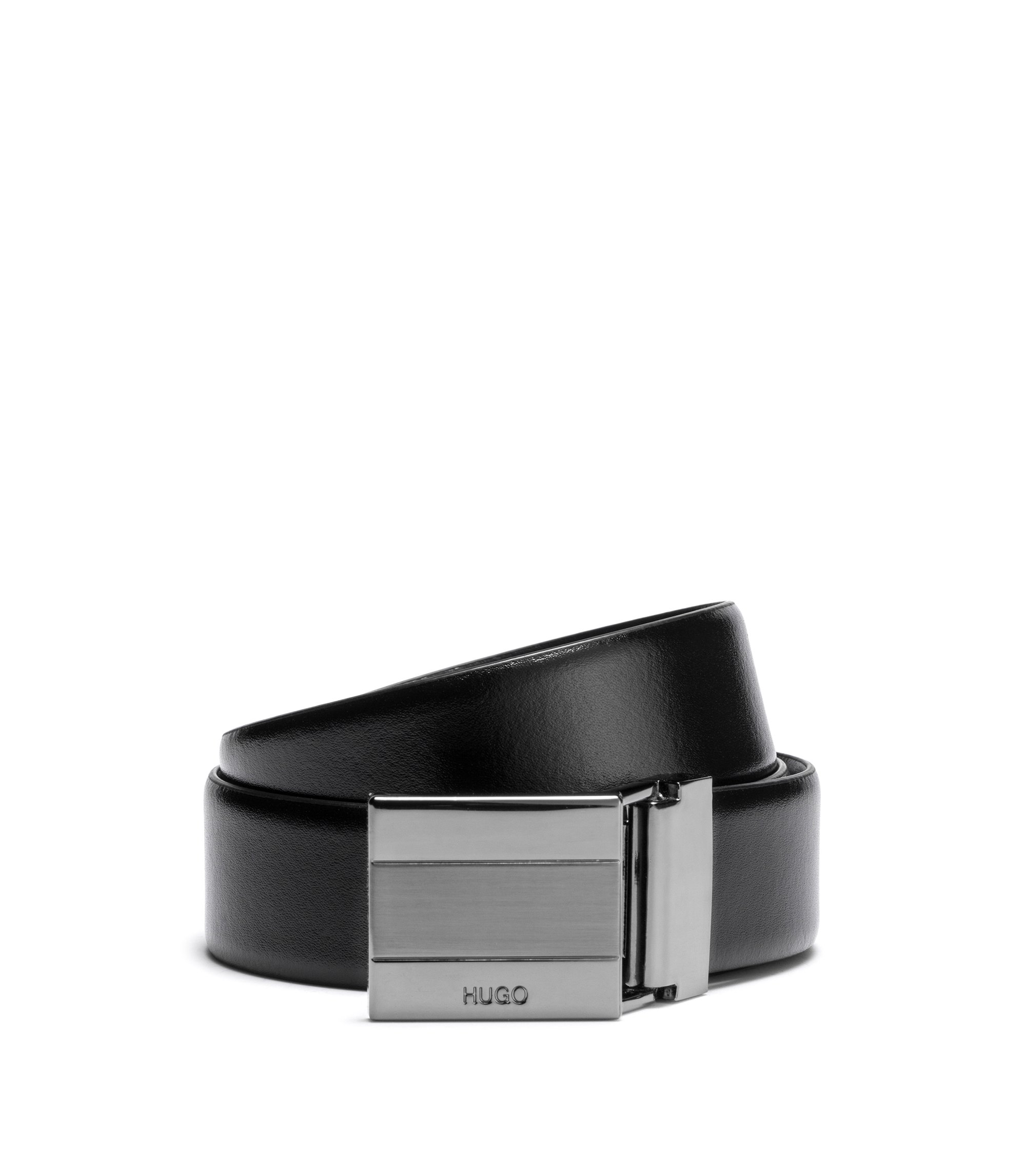 Reversible leather belt with double buckle, Black