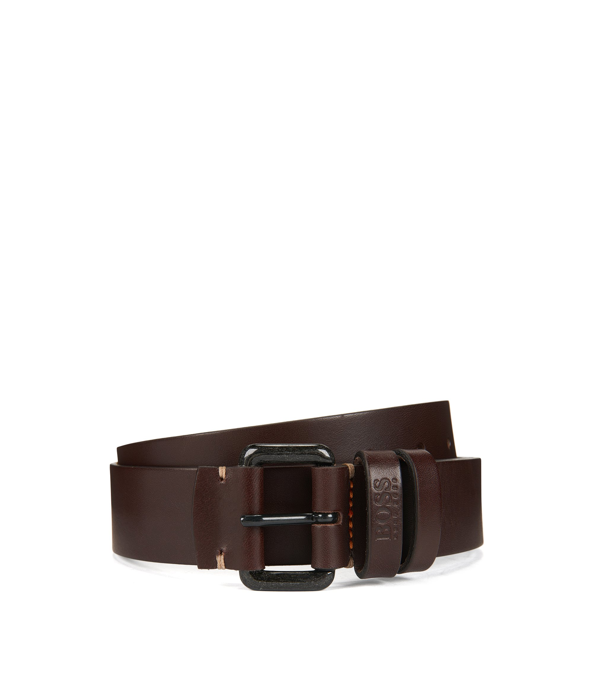 Leather belt with double-loop keeper, Brown