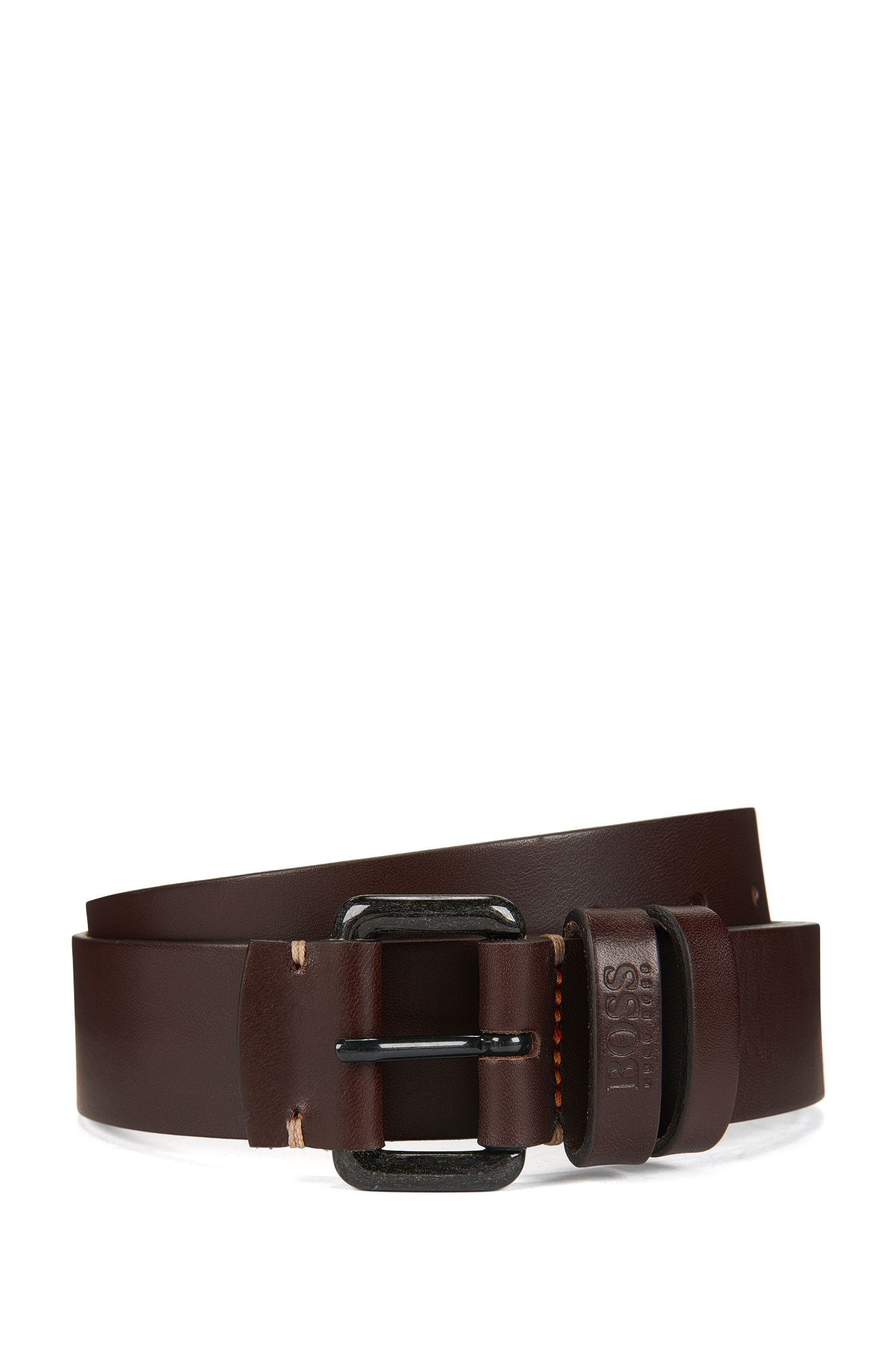 Leather belt with double-loop keeper