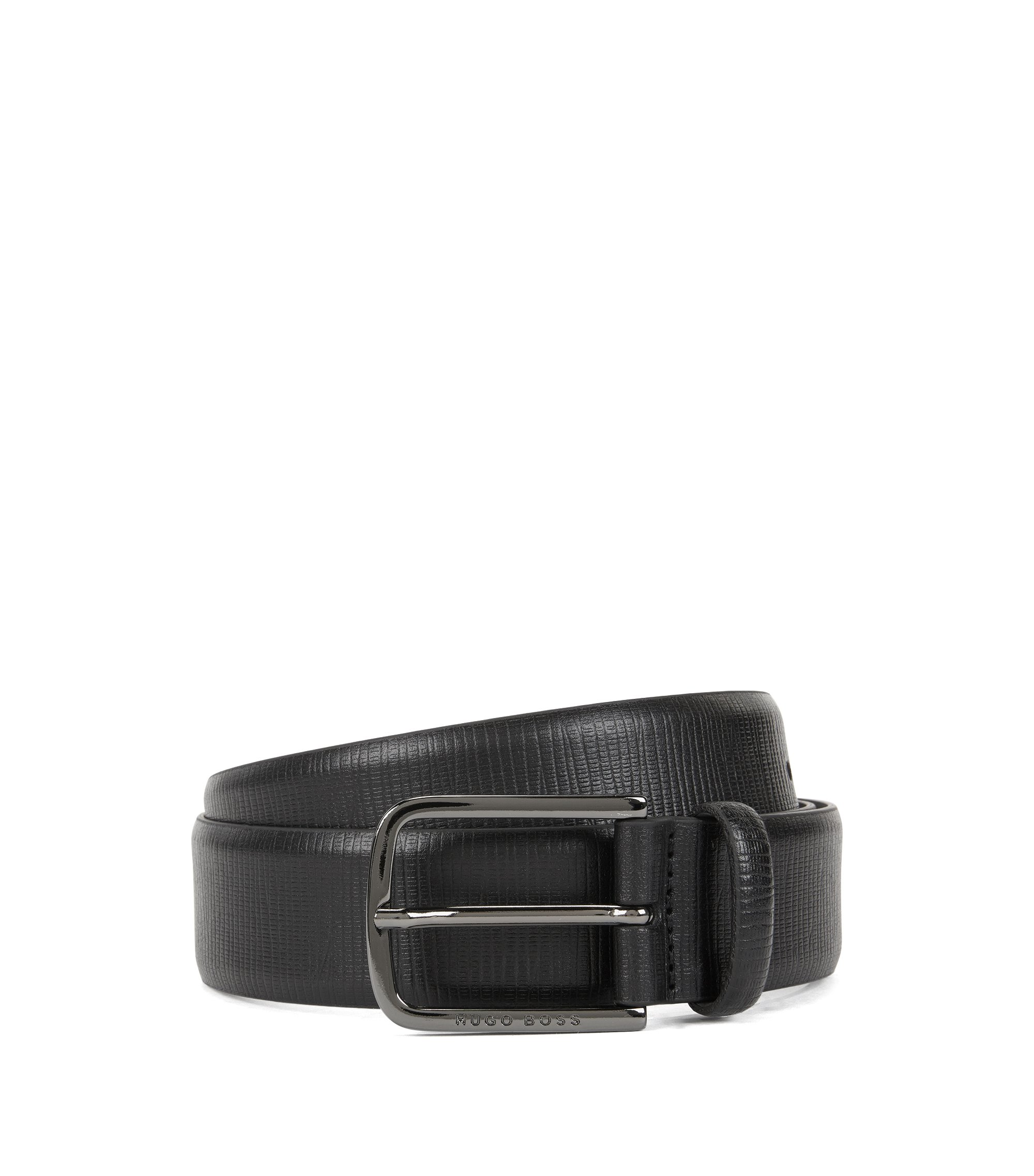 Embossed leather belt with gunmetal hardware, Black