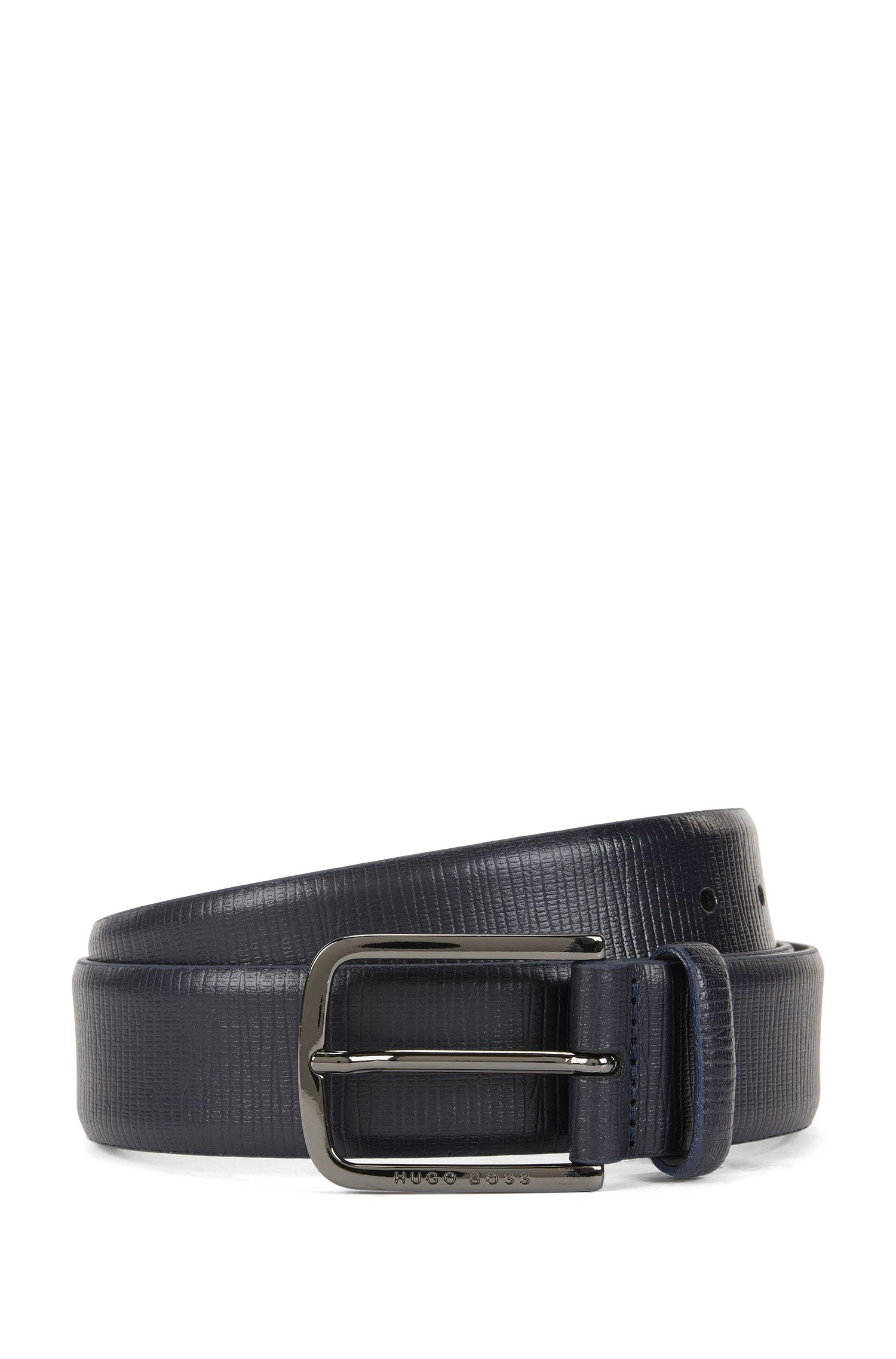 Embossed leather belt with gunmetal hardware