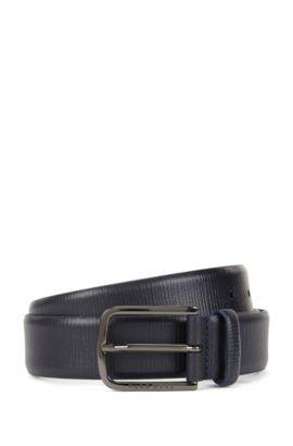 Embossed leather belt with gunmetal hardware, Dark Blue