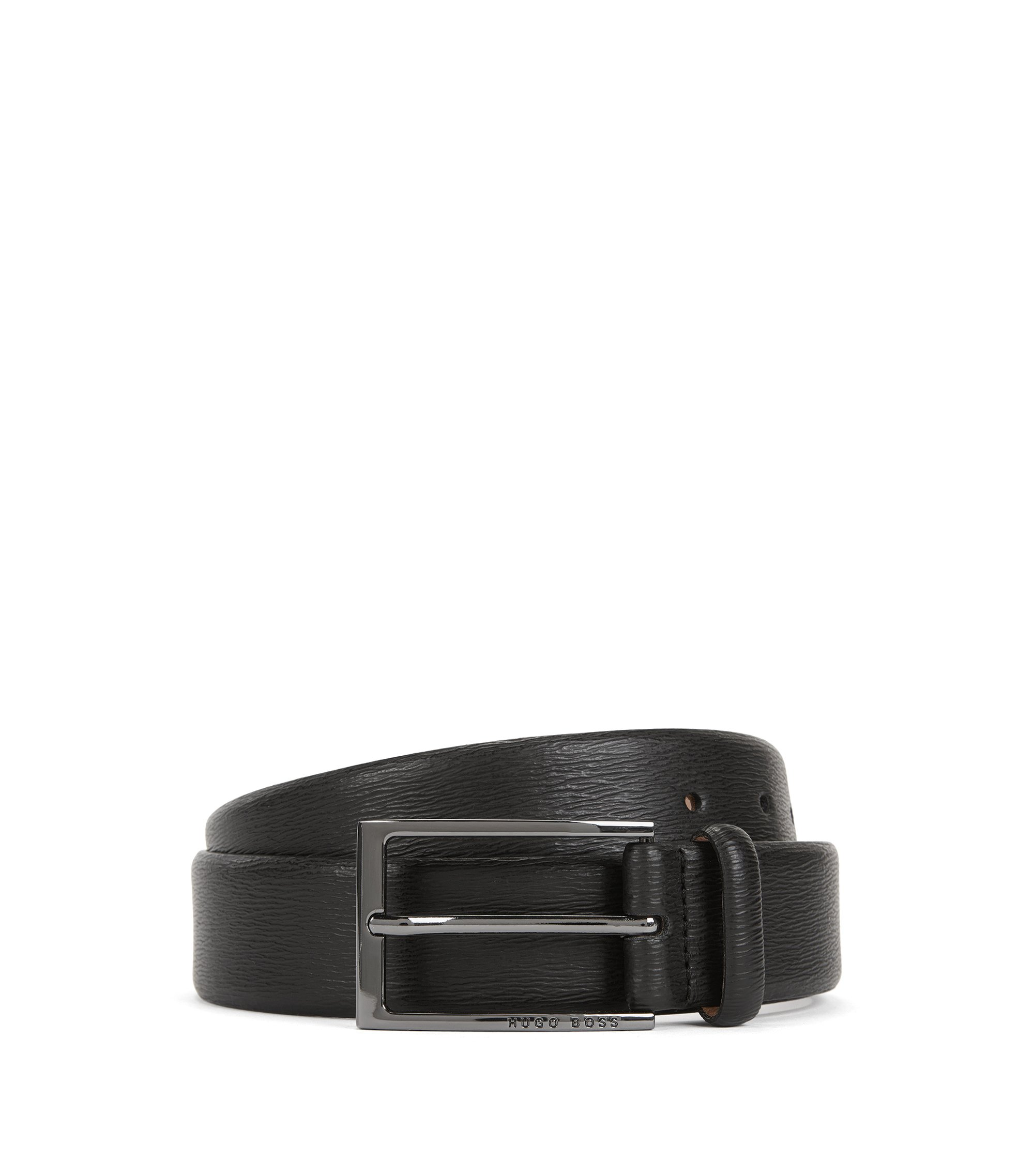 Leather belt with embossed pattern, Black