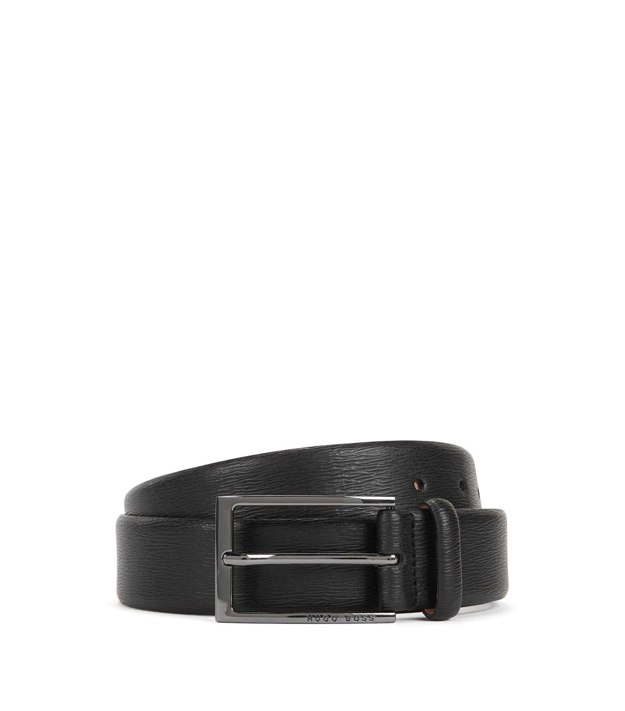Cintura in pelle con motivo goffrato, Nero