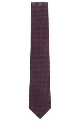 Cravate en jacquard de soie à micro-motif ton sur ton, Rose foncé