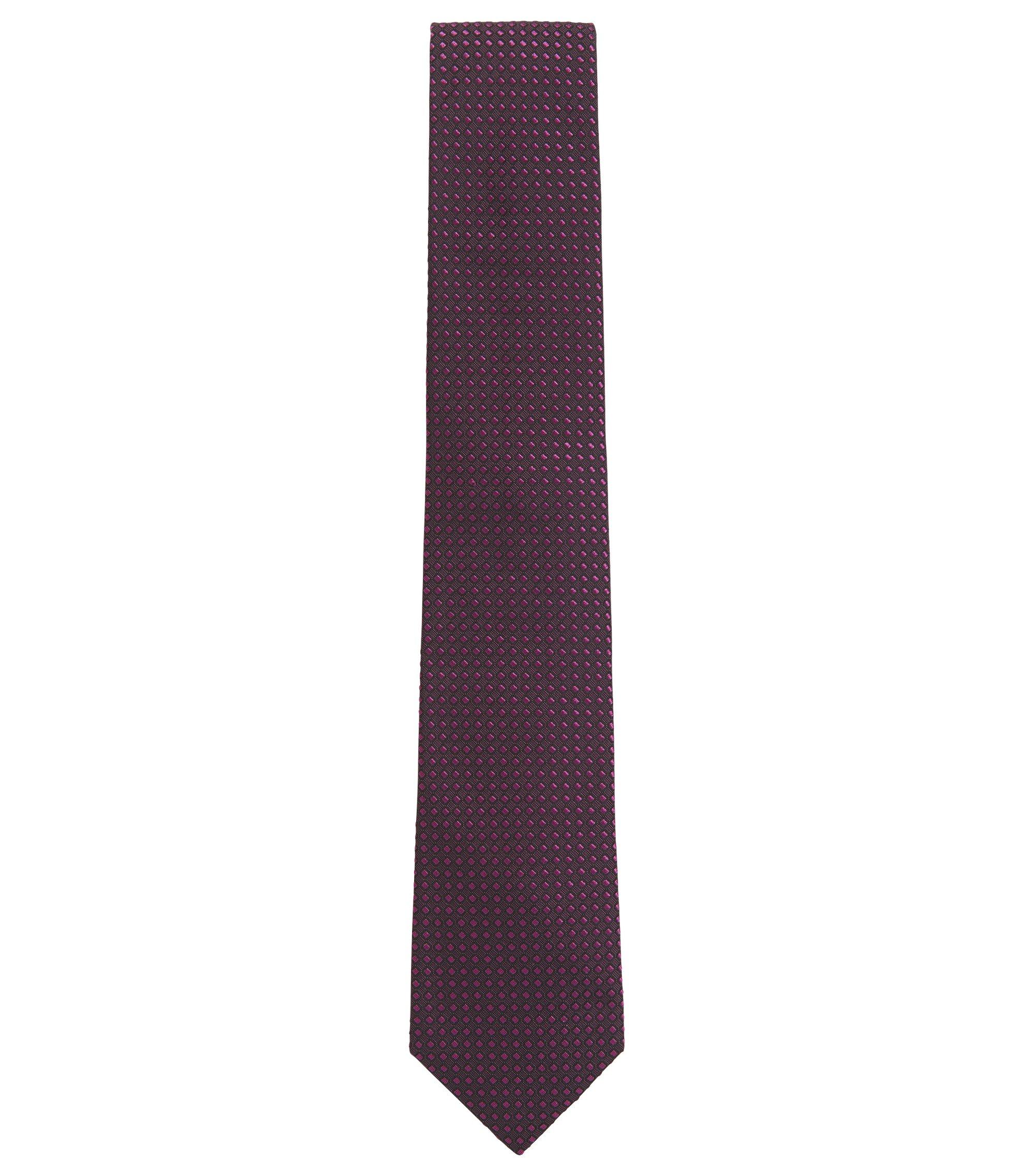 Cravatta in jacquard di seta con microdisegni tono su tono, Rosa scuro
