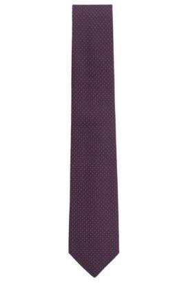 Tonal micro-pattern tie in silk jacquard, Dark pink
