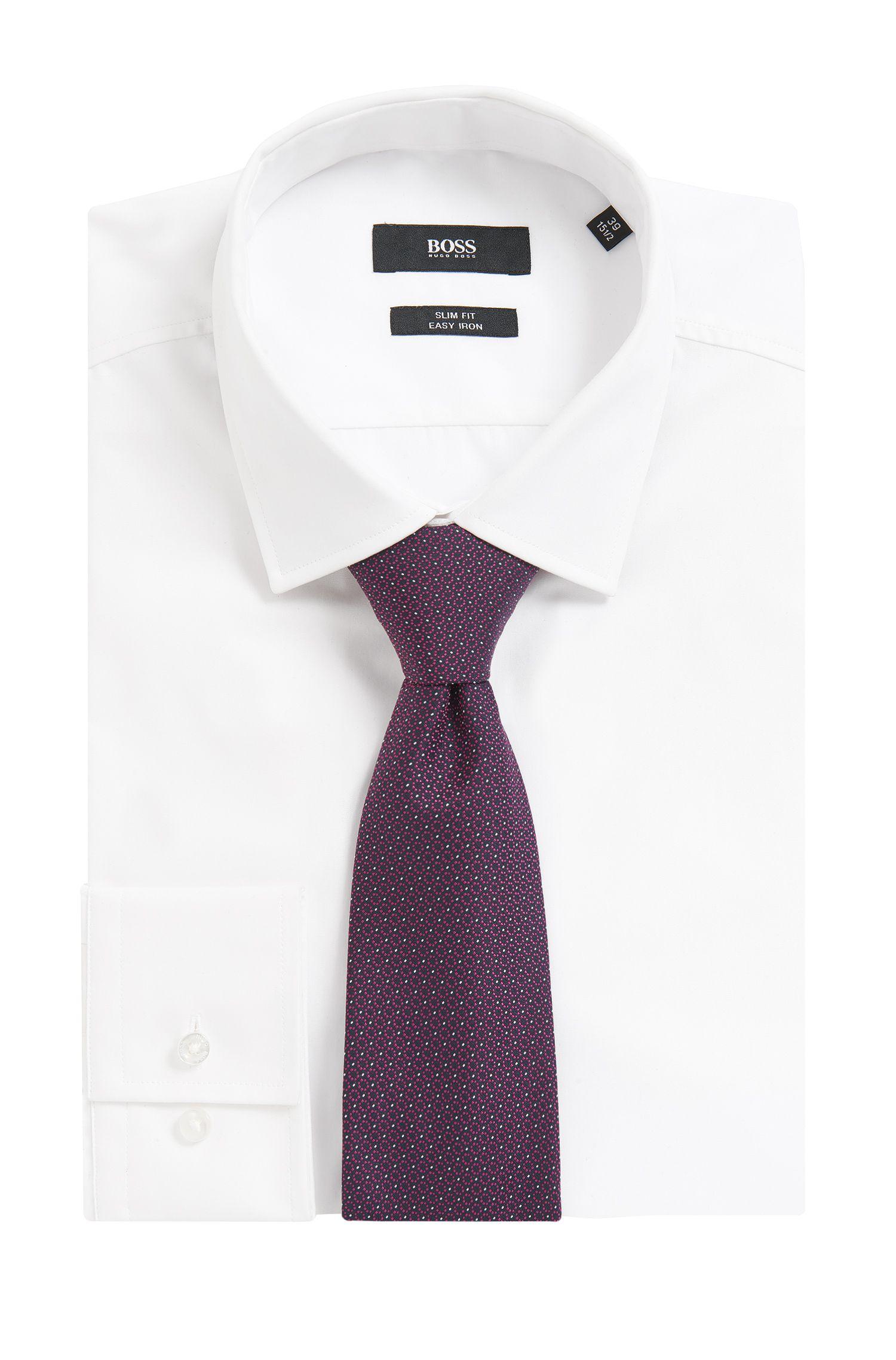 Cravate en jacquard de soie à micro-motif ton sur ton