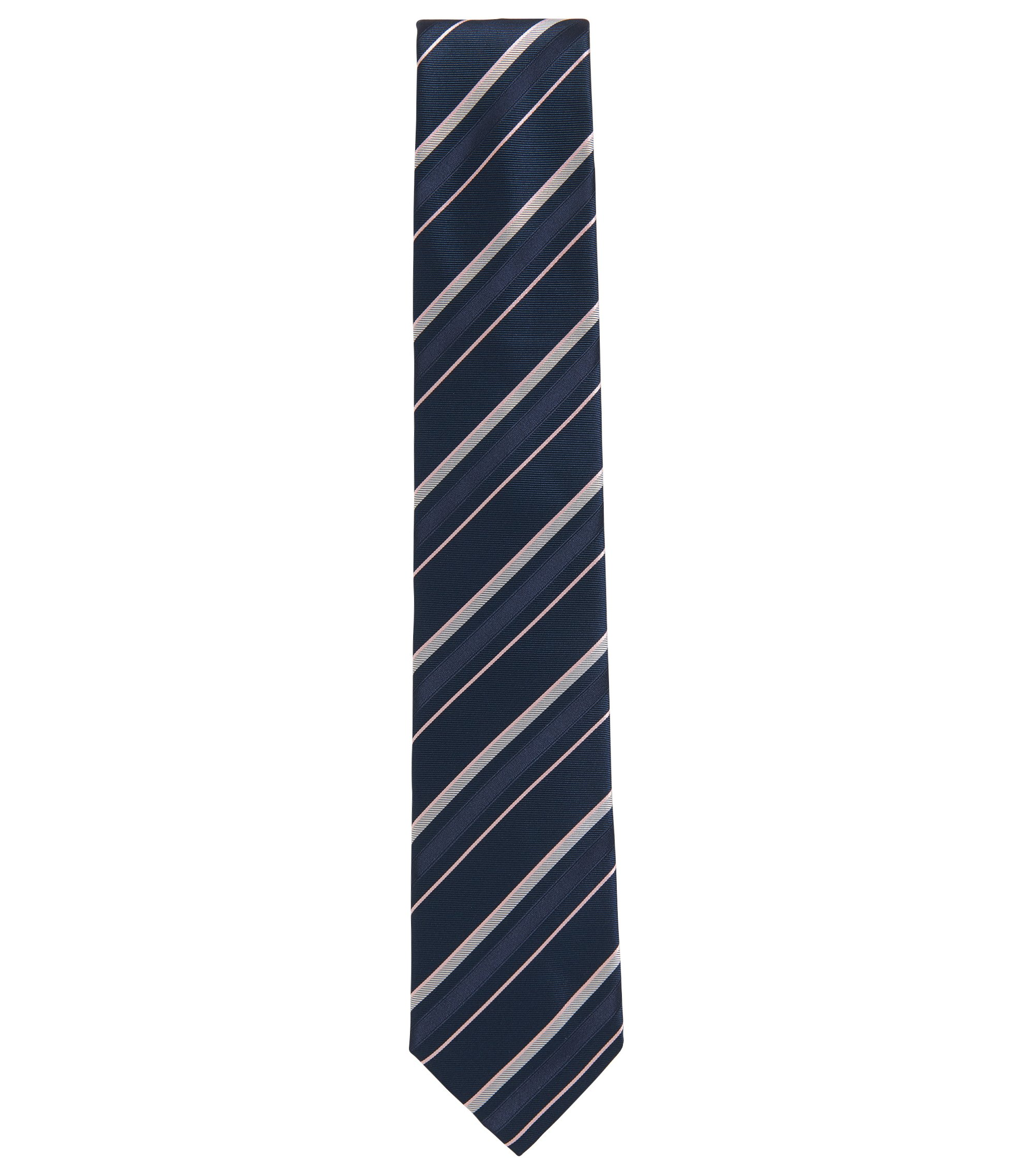Asymmetrical striped tie in silk jacquard, Dark Blue