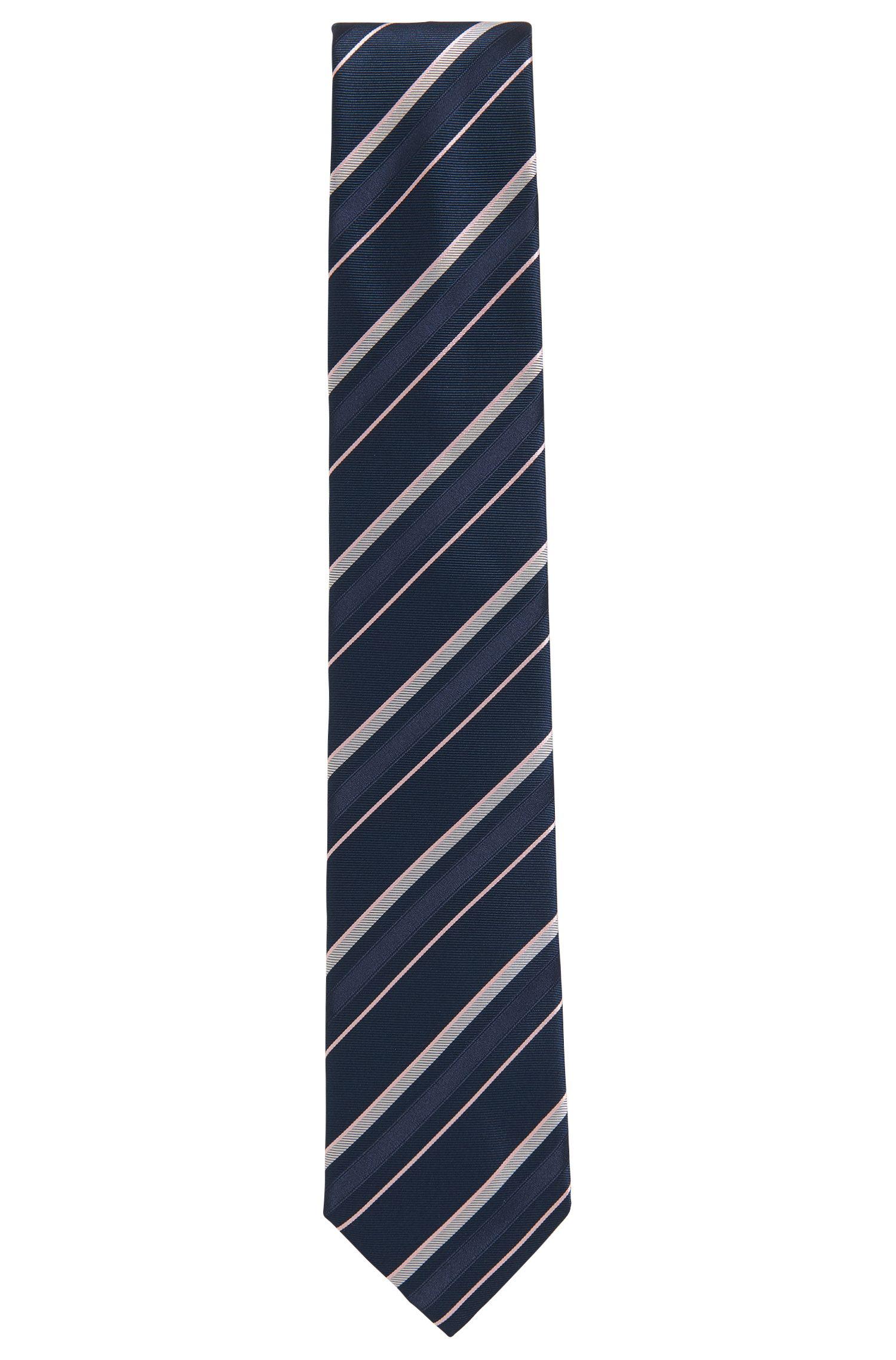 Asymmetrical striped tie in silk jacquard BOSS
