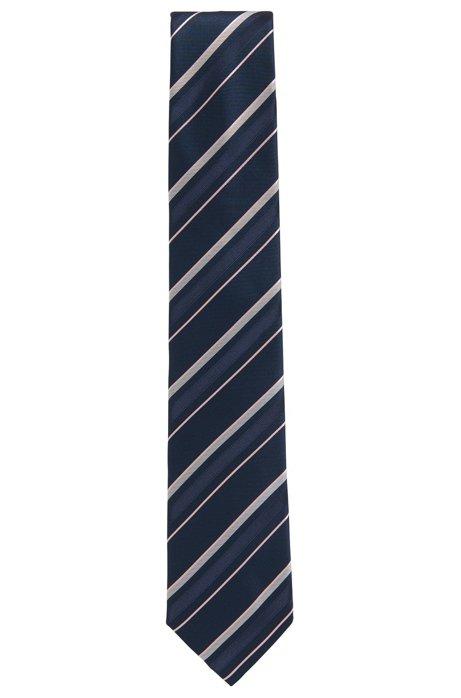 Asymmetrical striped tie in silk jacquard BOSS oqlgRb