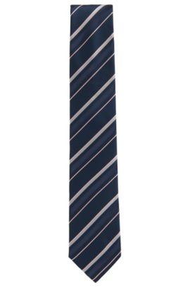 Cravatta a righe asimmetriche in jacquard di seta, Blu scuro