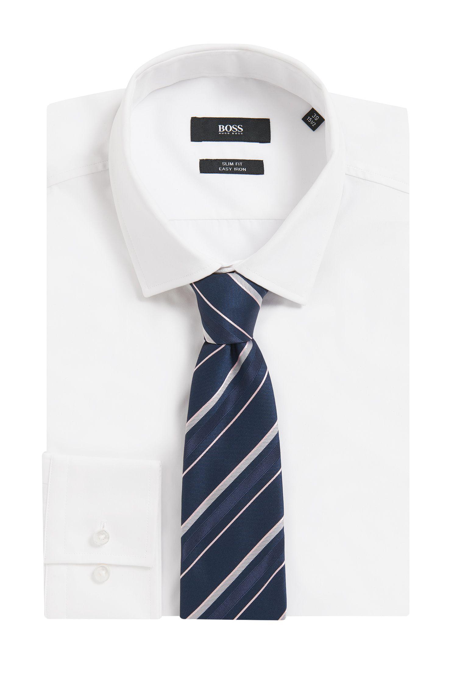 Asymmetrisch gestreepte stropdas van zijdejacquard