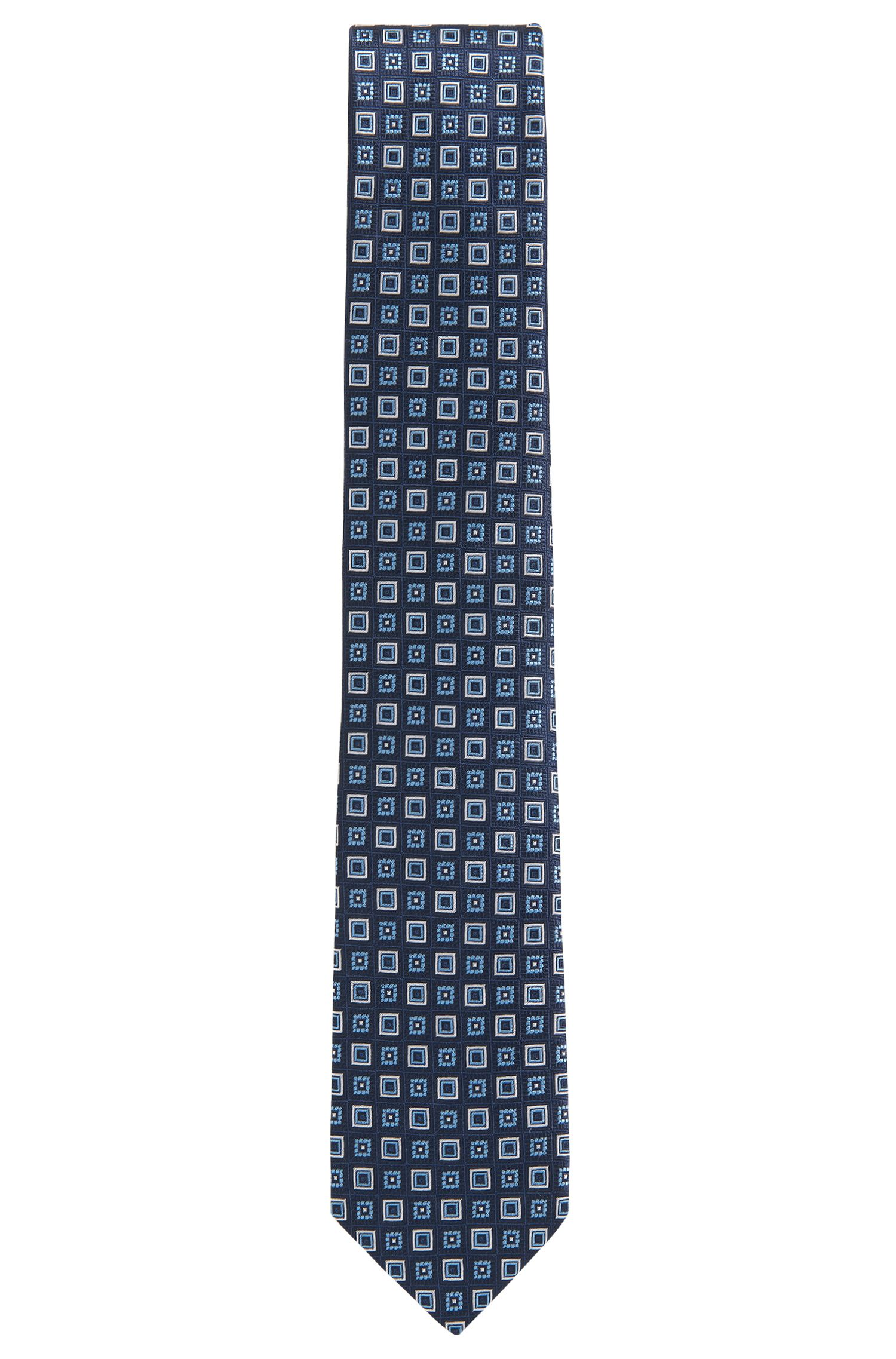 Patterned tie in silk jacquard