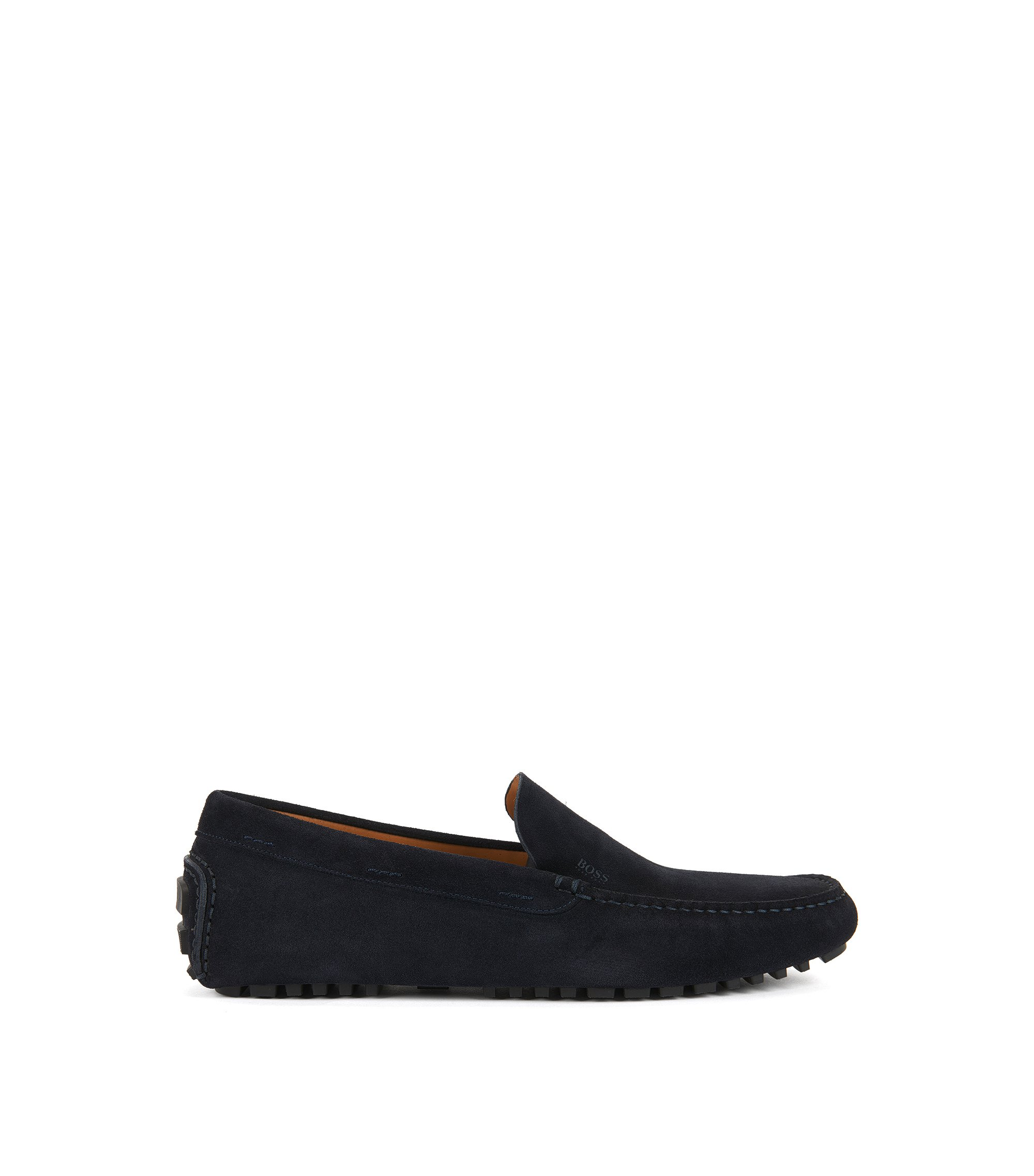 Suede moccasins with injected-rubber soles, Dark Blue