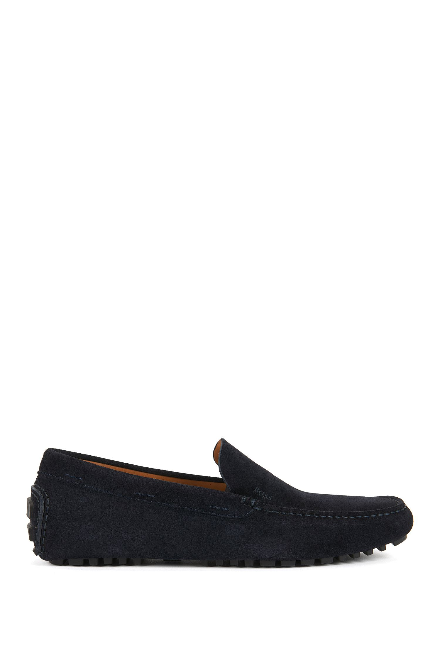 Suede moccasins with injected-rubber soles