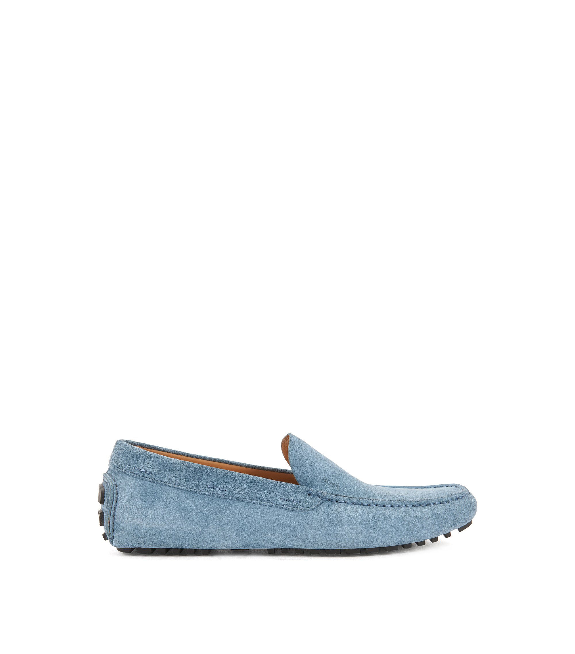 Suede moccasins with injected-rubber soles, Light Blue