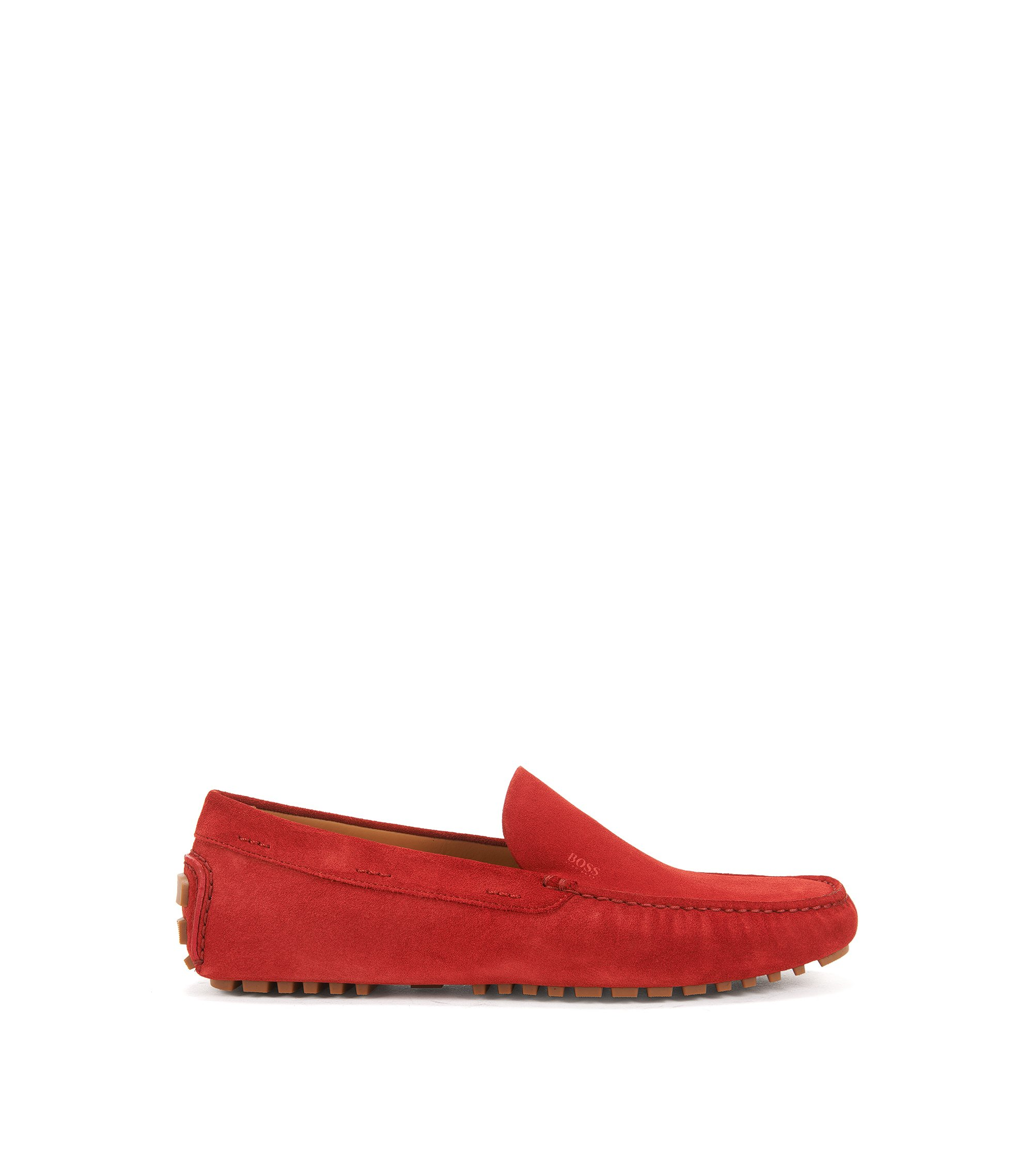 Suede moccasins with injected-rubber soles, Dark Red