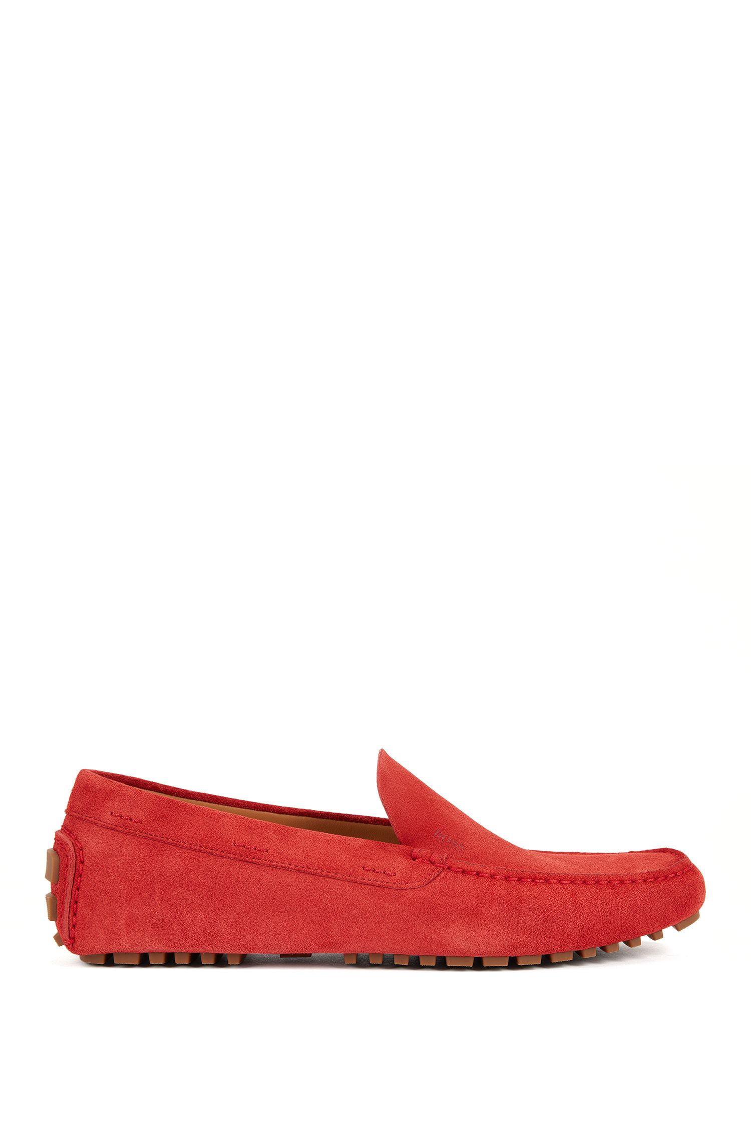 Suede moccasins with injected-rubber soles BOSS
