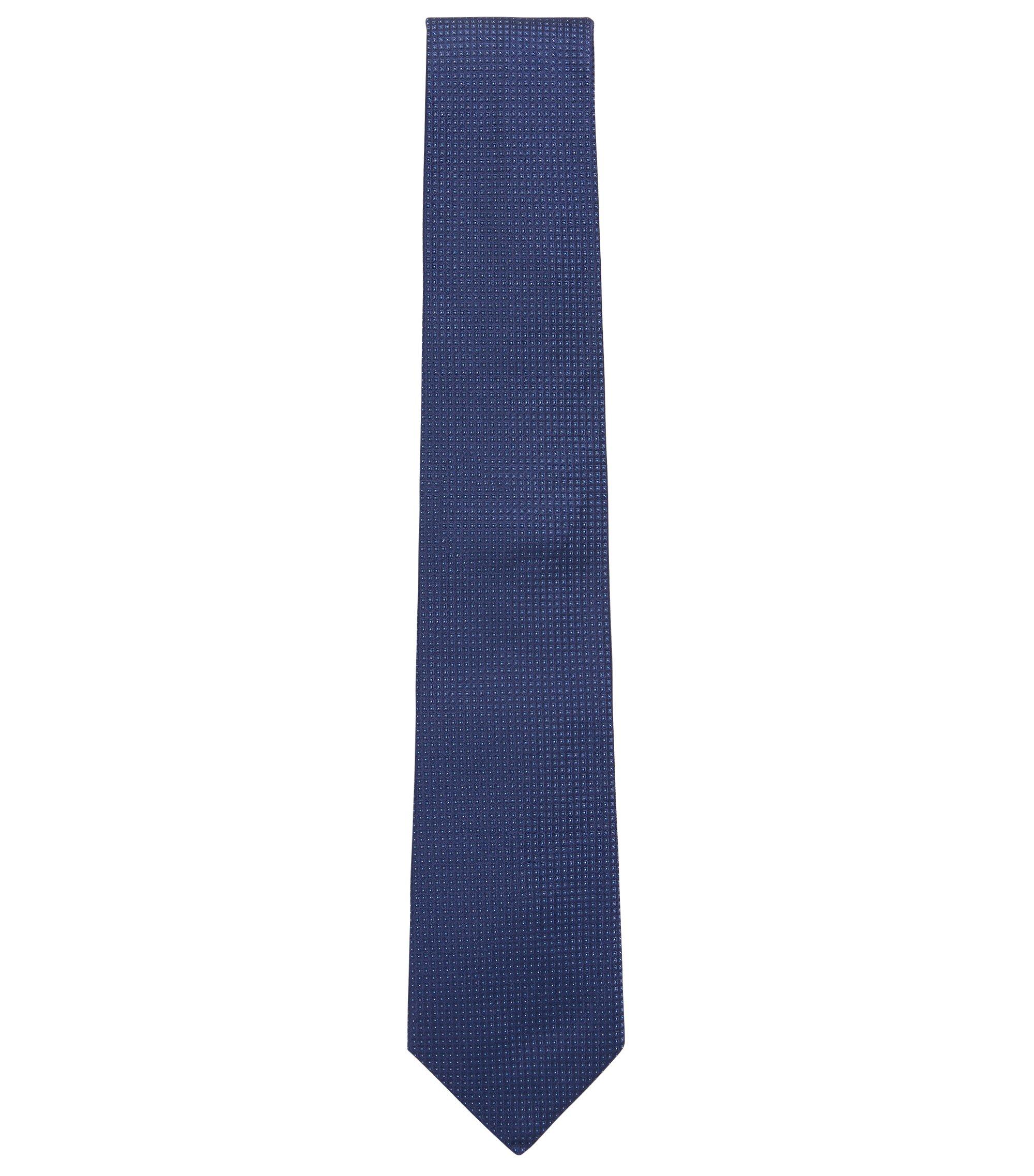 Cravatta in jacquard di seta con microdisegni, Blu scuro