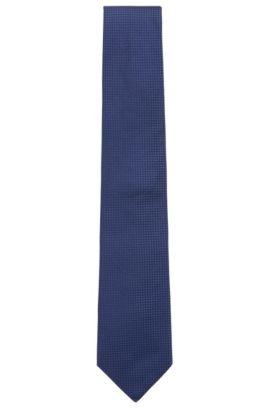 Gemusterte Krawatte aus reiner Seide mit Jacquard-Struktur, Dunkelblau