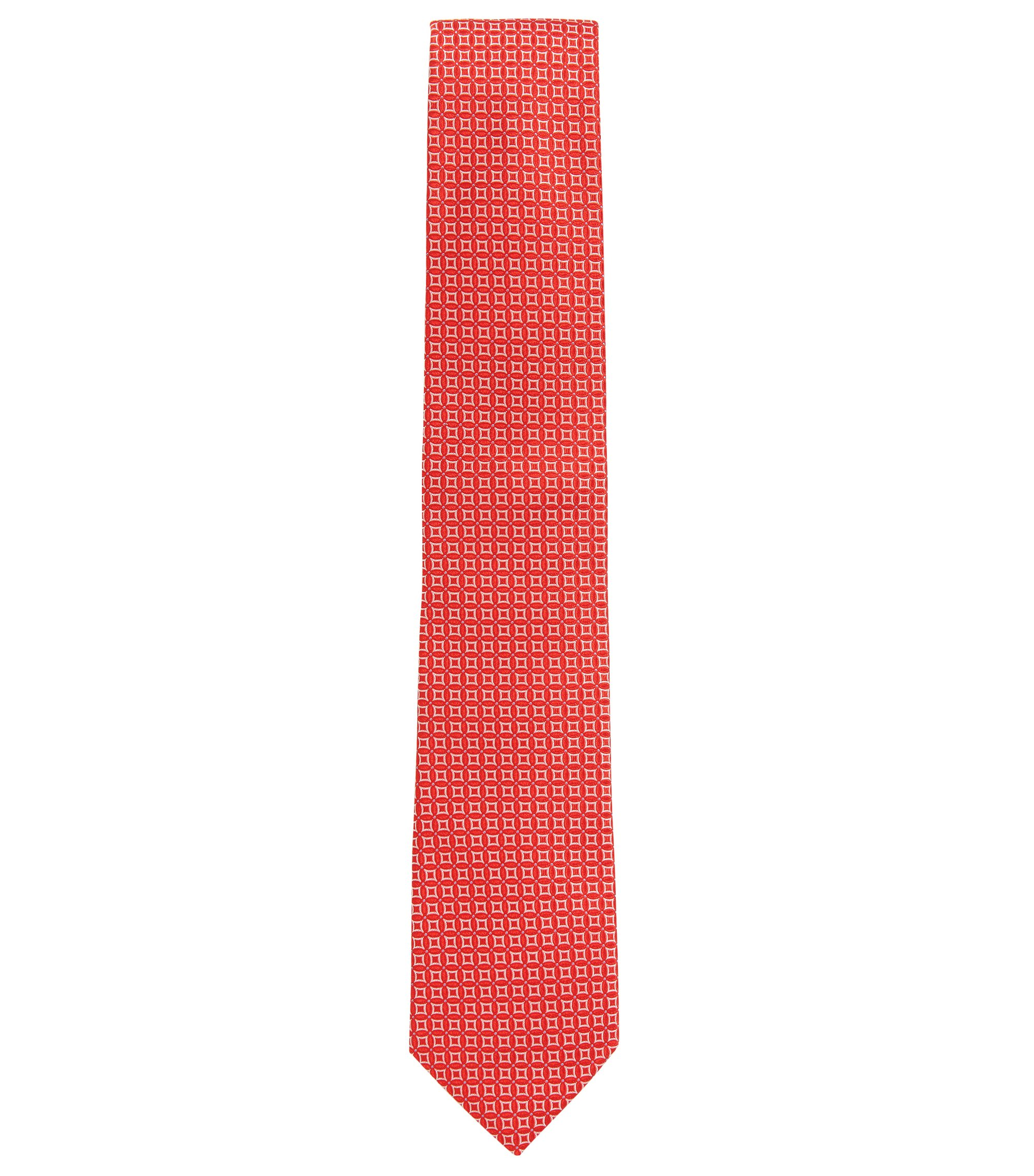 Made in Italy patterned tie in silk jacquard, Red
