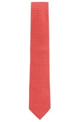 Cravate en jacquard de soie à motif confectionnée en Italie, Rouge