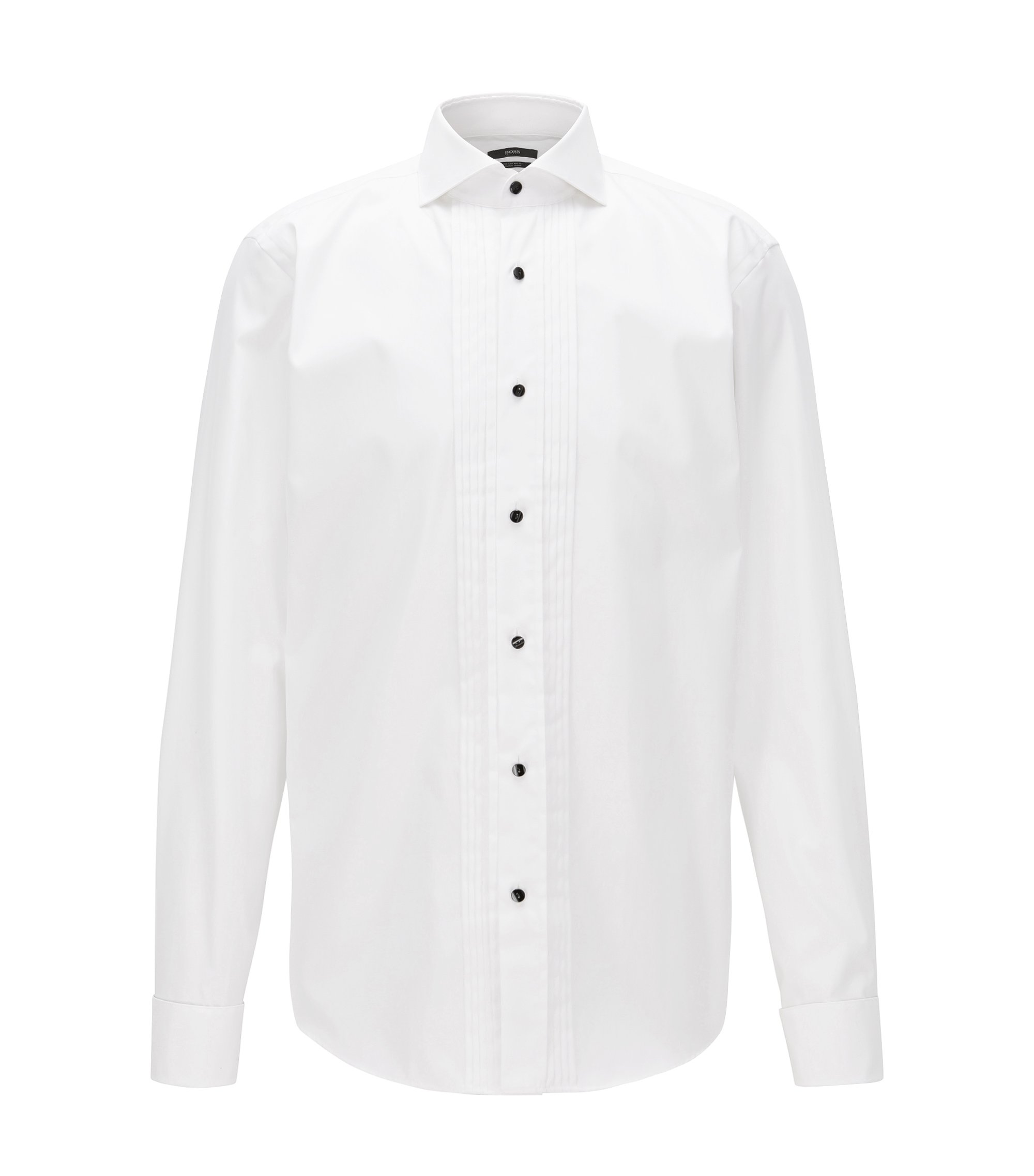 Camicia da smoking regular fit in cotone facile da stirare, Bianco