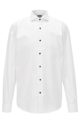 Camicia da smoking slim fit in cotone facile da stirare, Bianco
