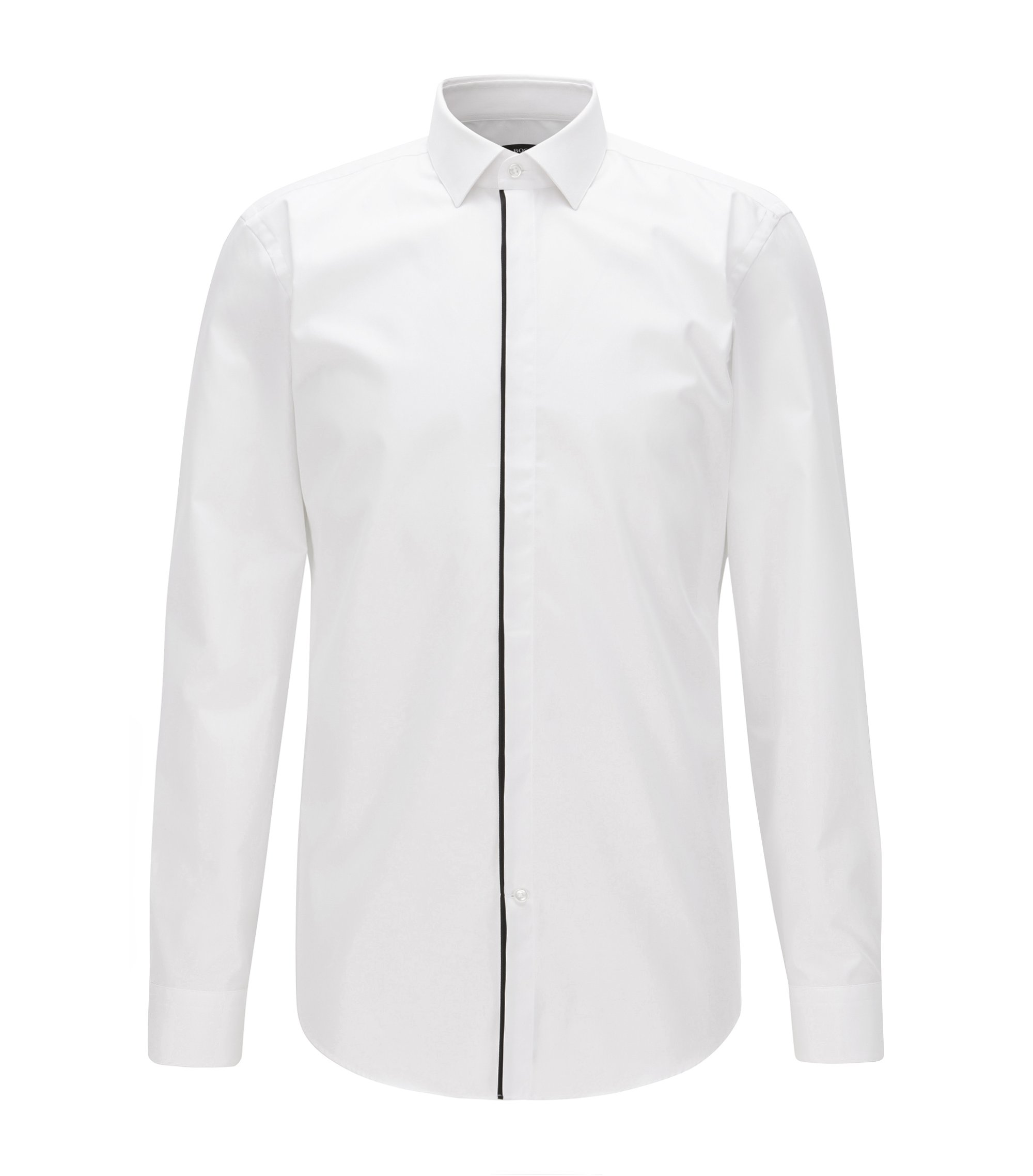 Slim-fit shirt in easy-iron cotton, White