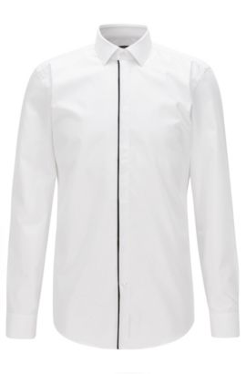 Slim-fit shirt in easy-iron cotton, Wit
