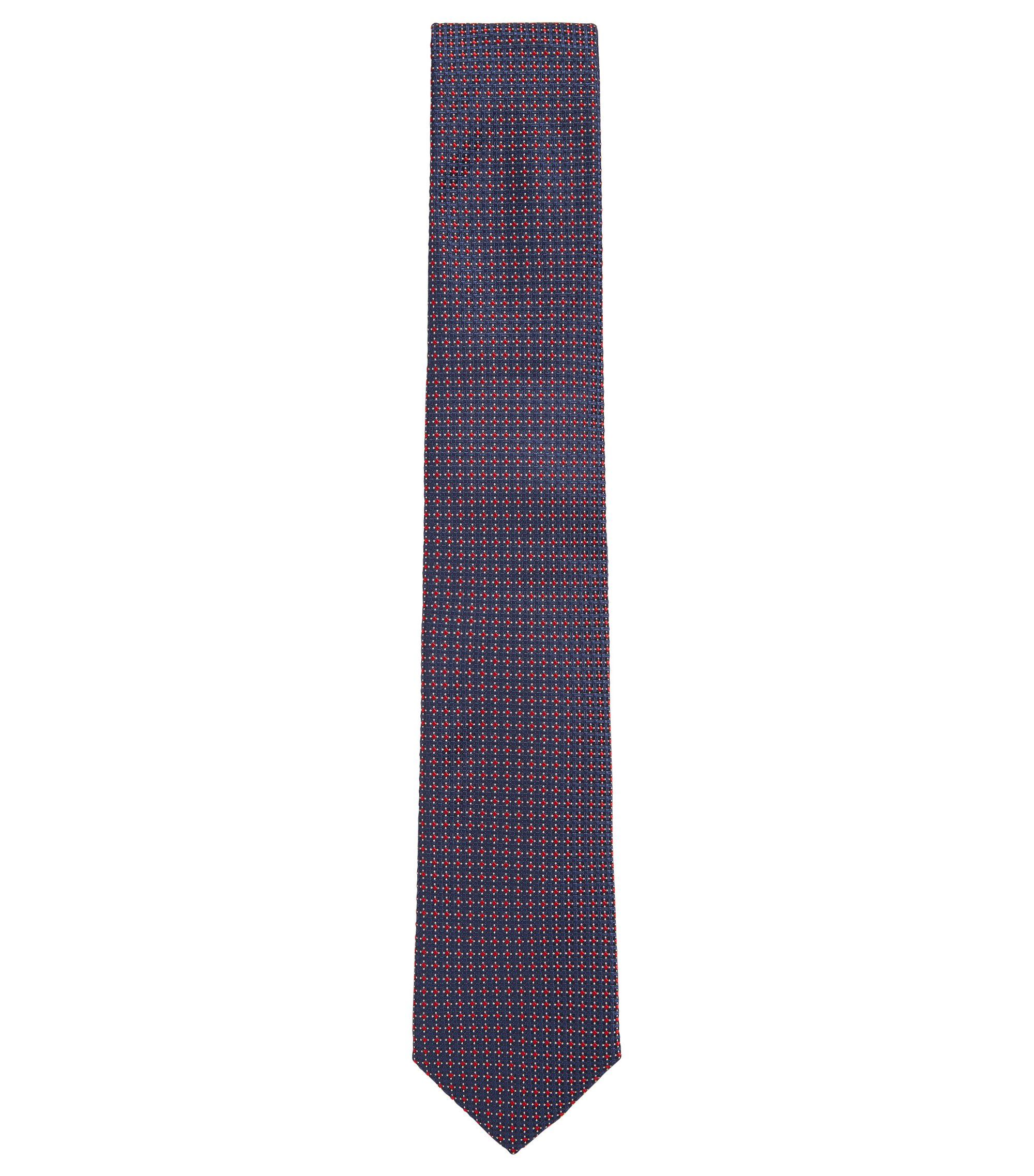 Silk jacquard tie with textured pattern, Dark Blue